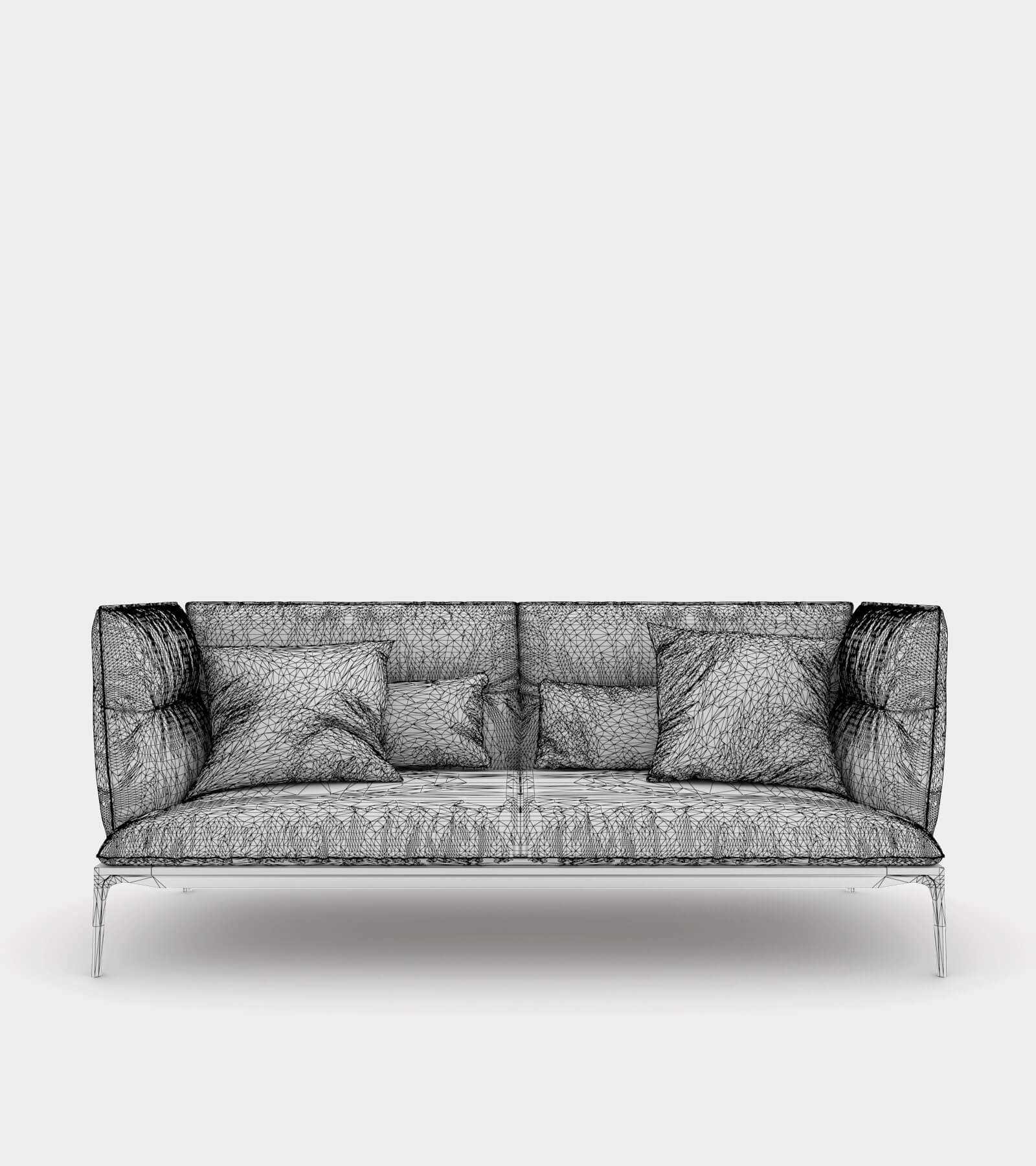Sofa with high backrest-1-wire 3D Model