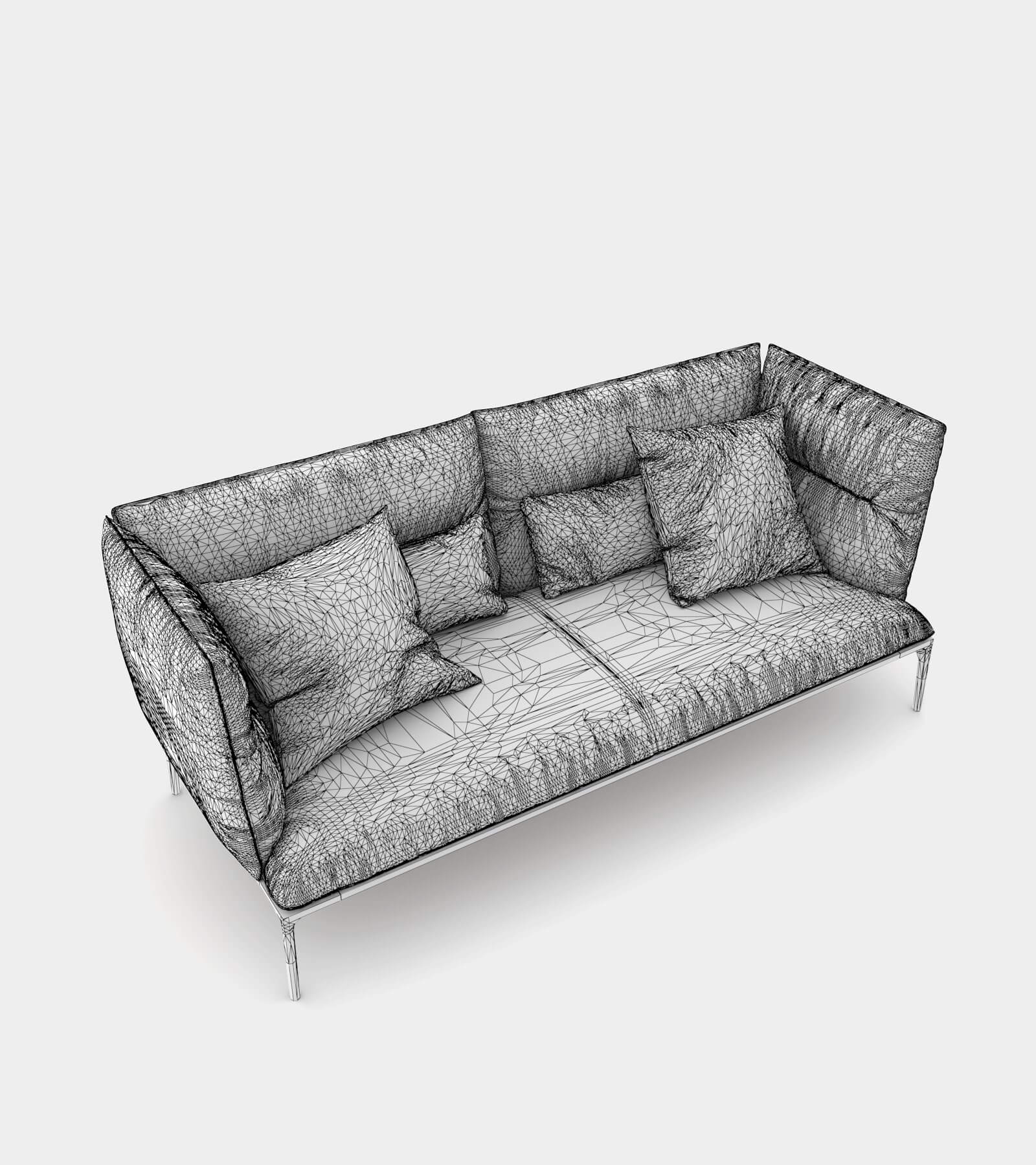 Sofa with high backrest-2-wire 3D Model