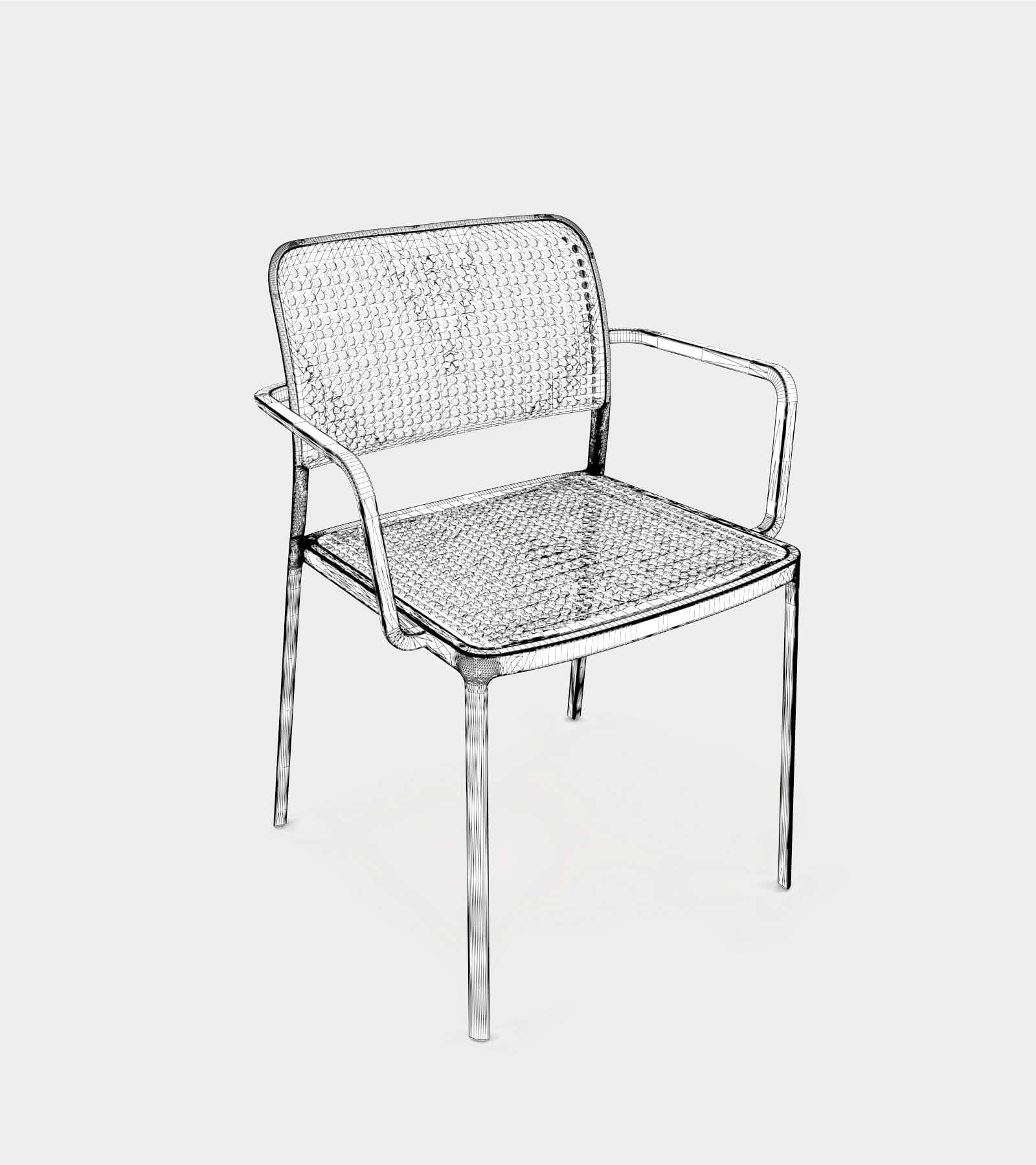 Aluminium armchair for interior and exterior-wire-1 3D Model