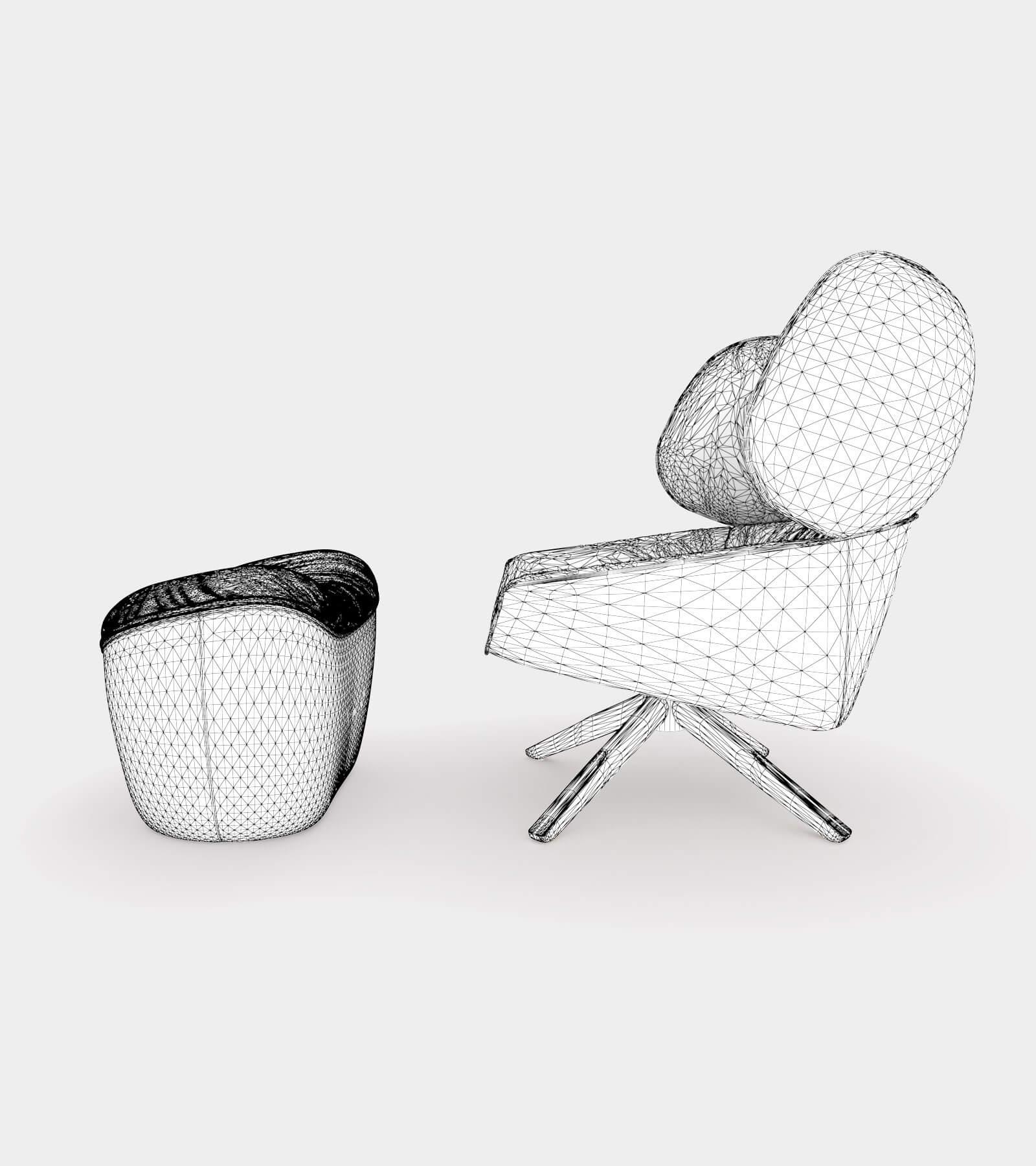 Armchair with headrest ears-wire-2 3D Model
