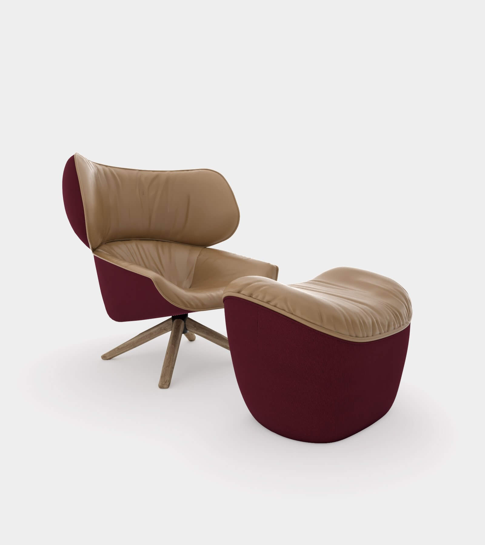 Armchair with headrest ears1 - 3D Model