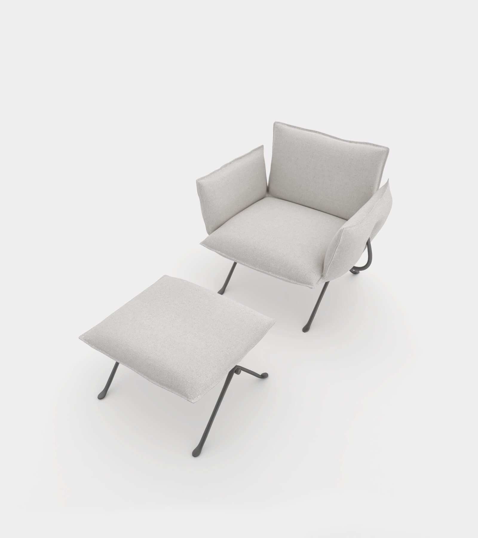 Armchair with ottomane-13 3D Model