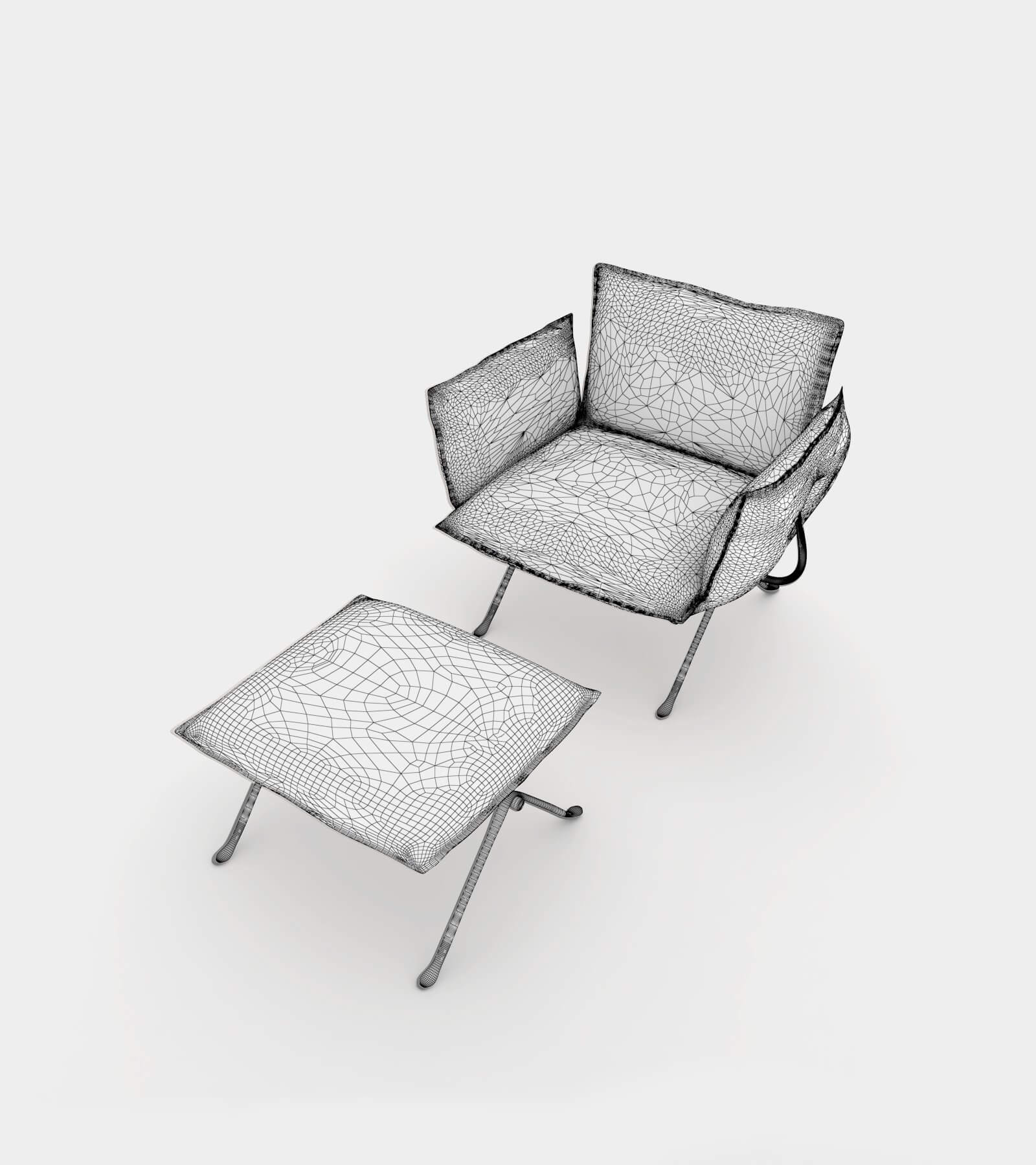 Armchair with ottomane-14 3D Model