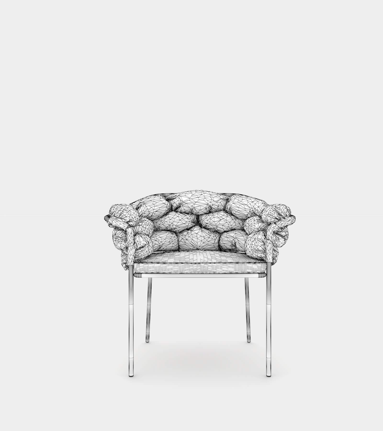 Armchair with upholstery for indoor and outdoor-wire-2 3D Model