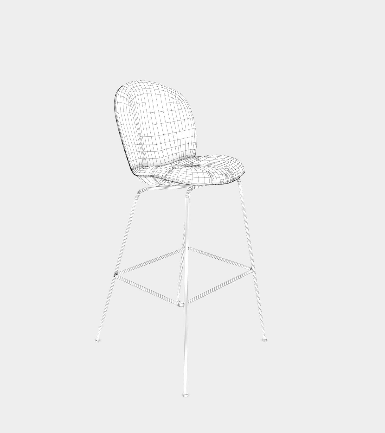 Bar and counter stool with fabric cover-wire-1 3D Model