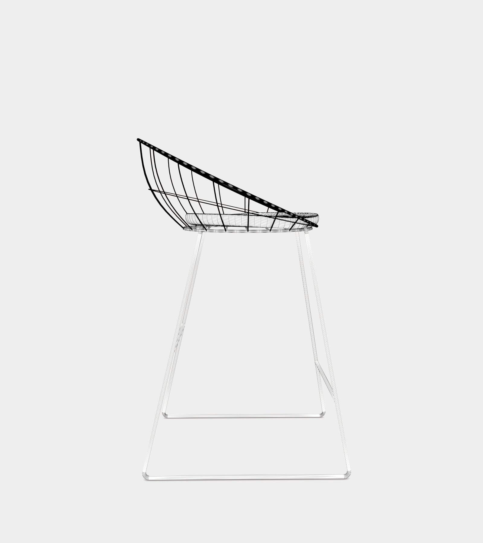 Bar counter stool with metal frame-wire-1 3D Model