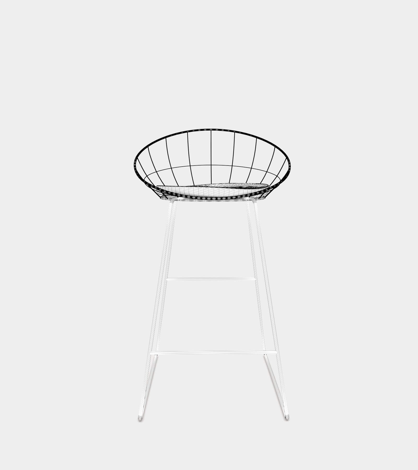 Bar counter stool with metal frame-wire-2 3D Model