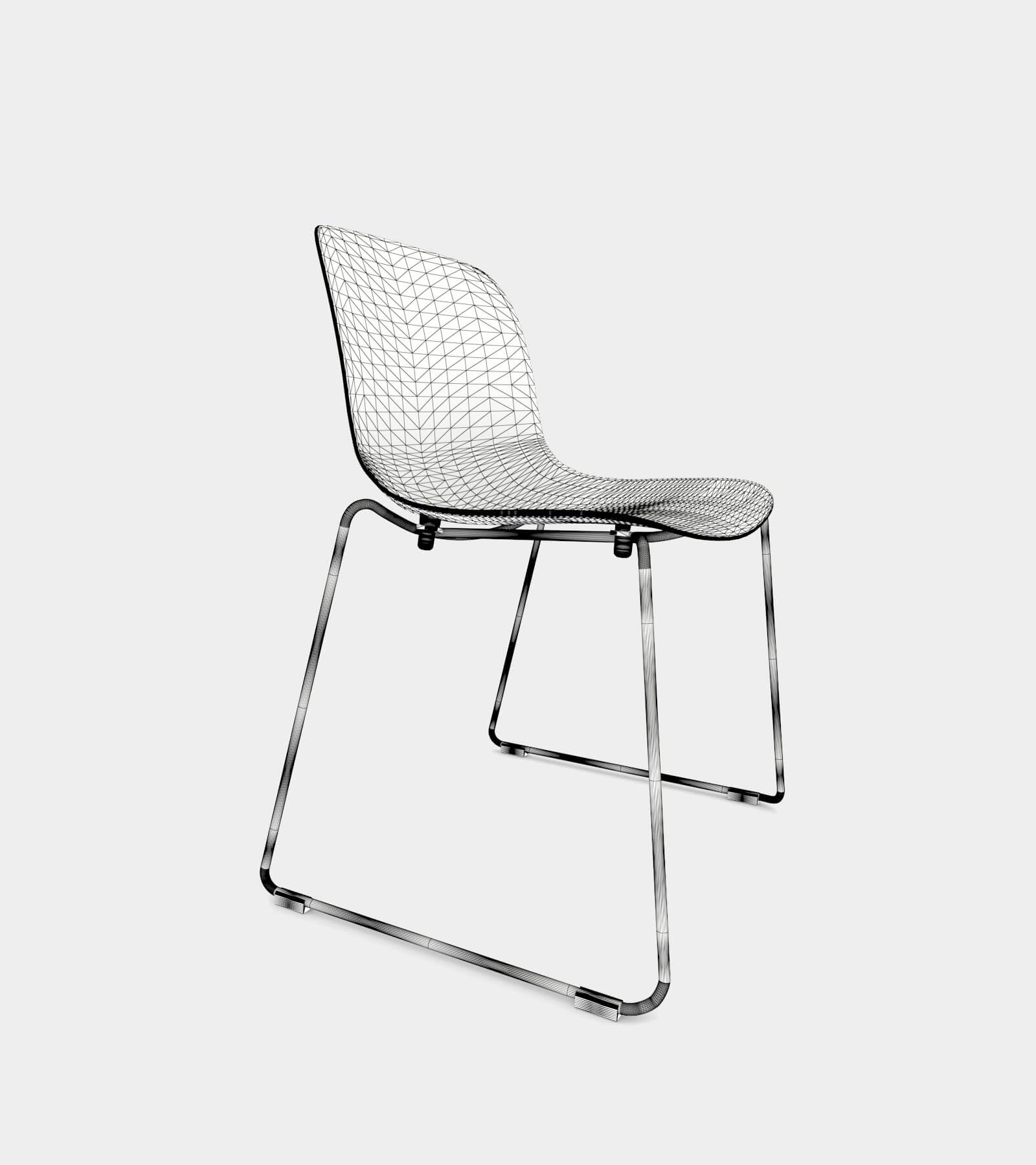 Chair with chrome frame and black seat-wire-11 3D Model