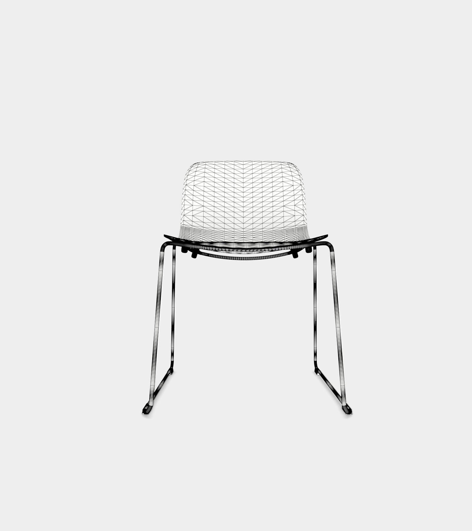 Chair with chrome frame and black seat-wire-22 3D Model