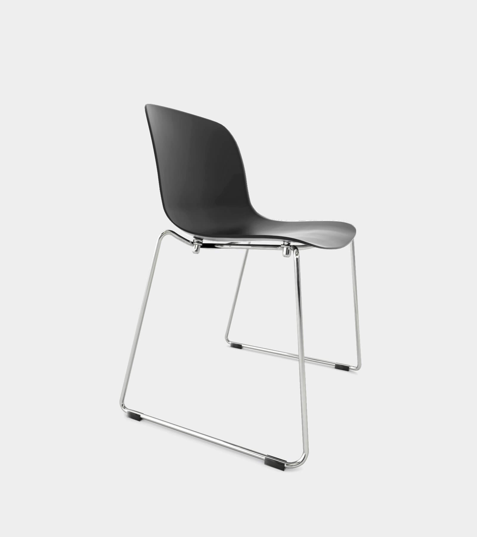 Chair with chrome frame and black seat- 3D Model
