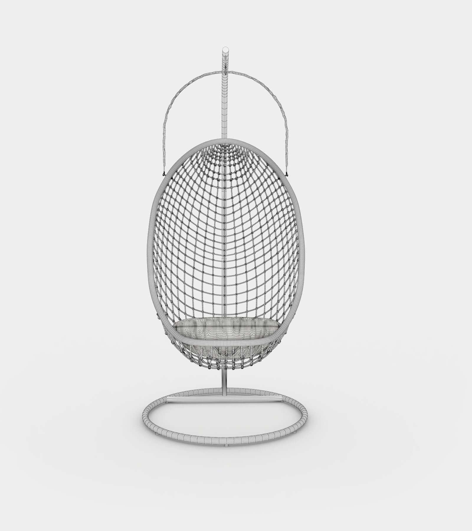 Chillout rattan hanging chair-wire-1 3D Model