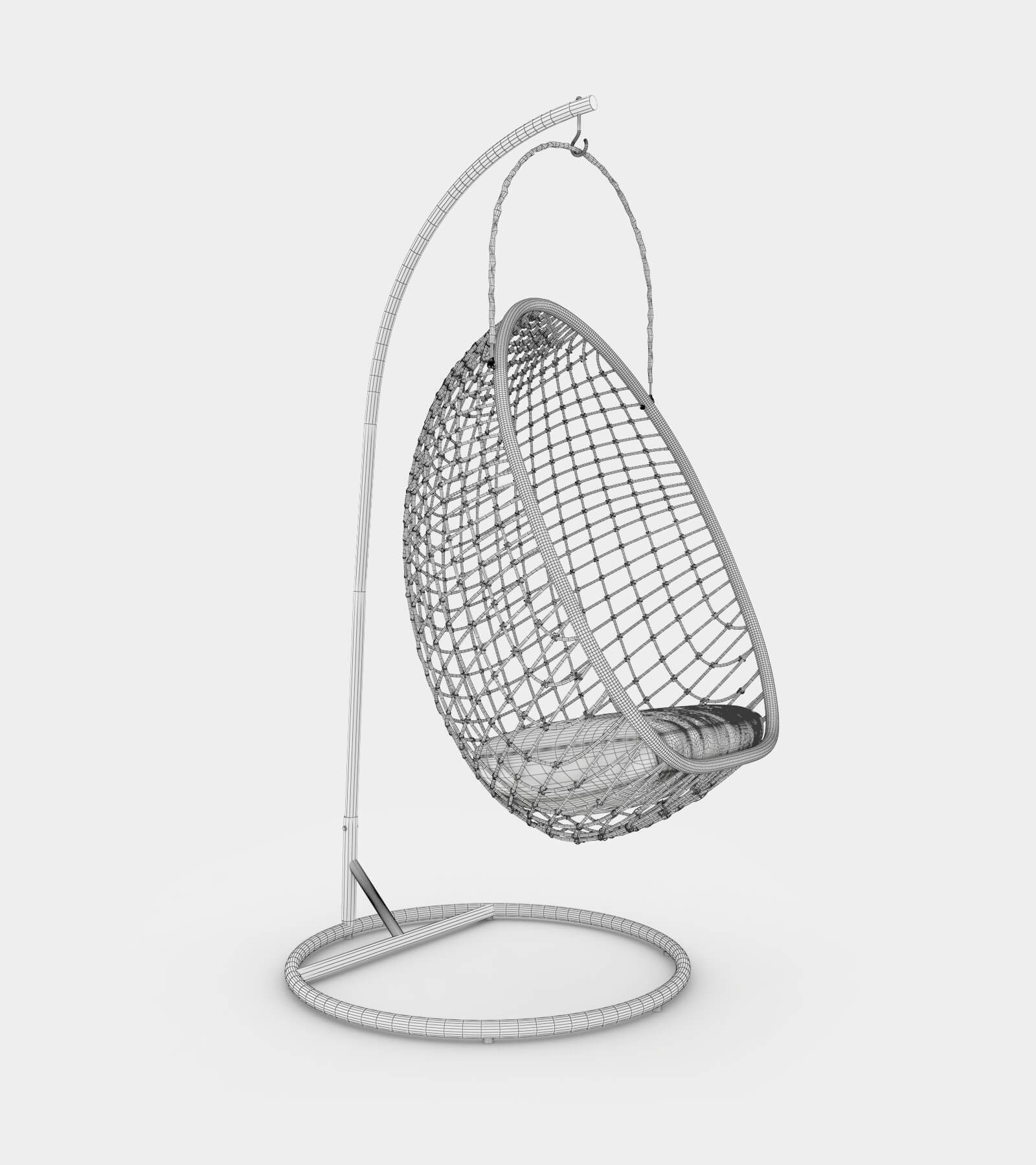 Chillout rattan hanging chair-wire-2 3D Model