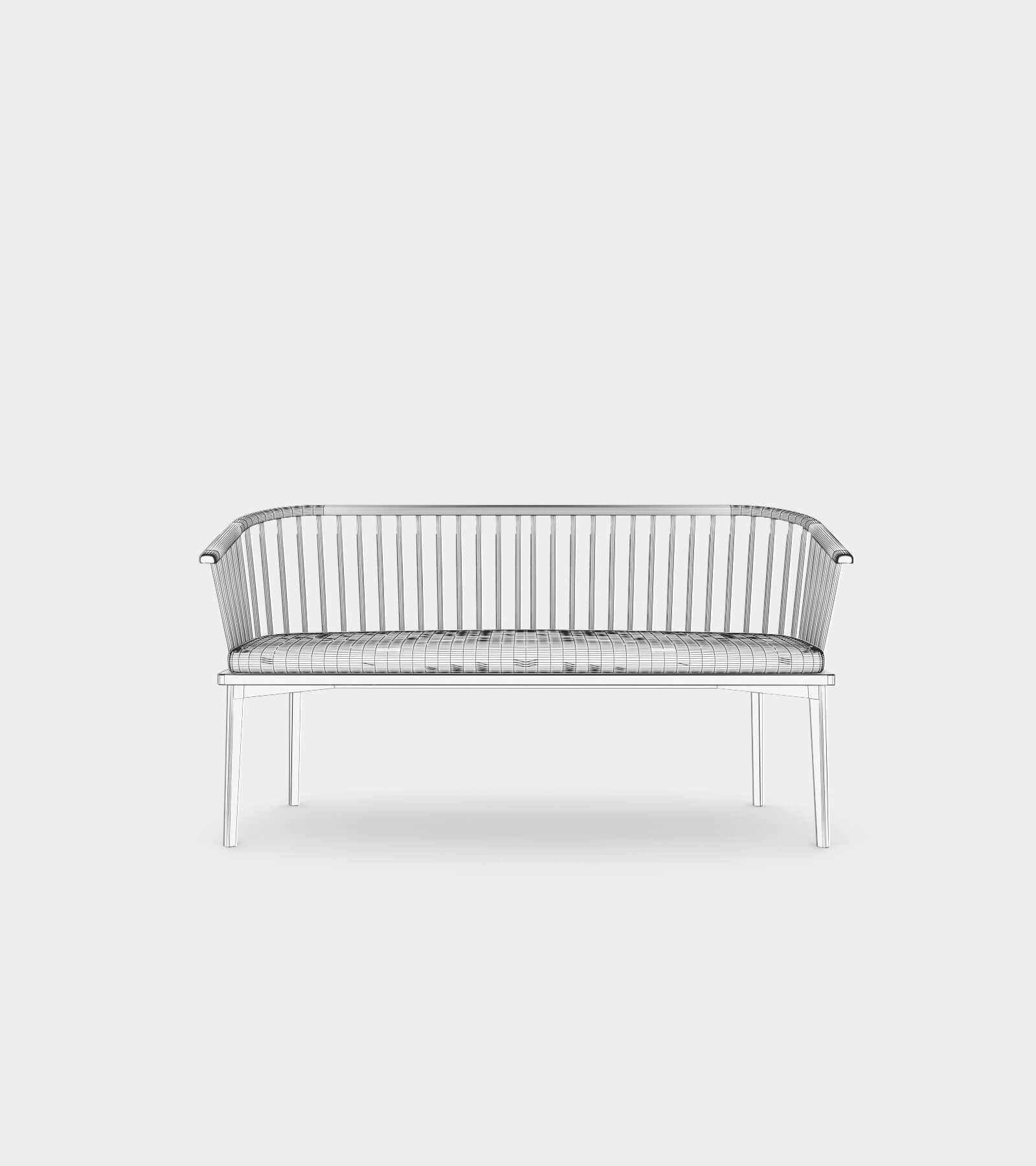 Classic wood bench with struts-wire-1 3D Model