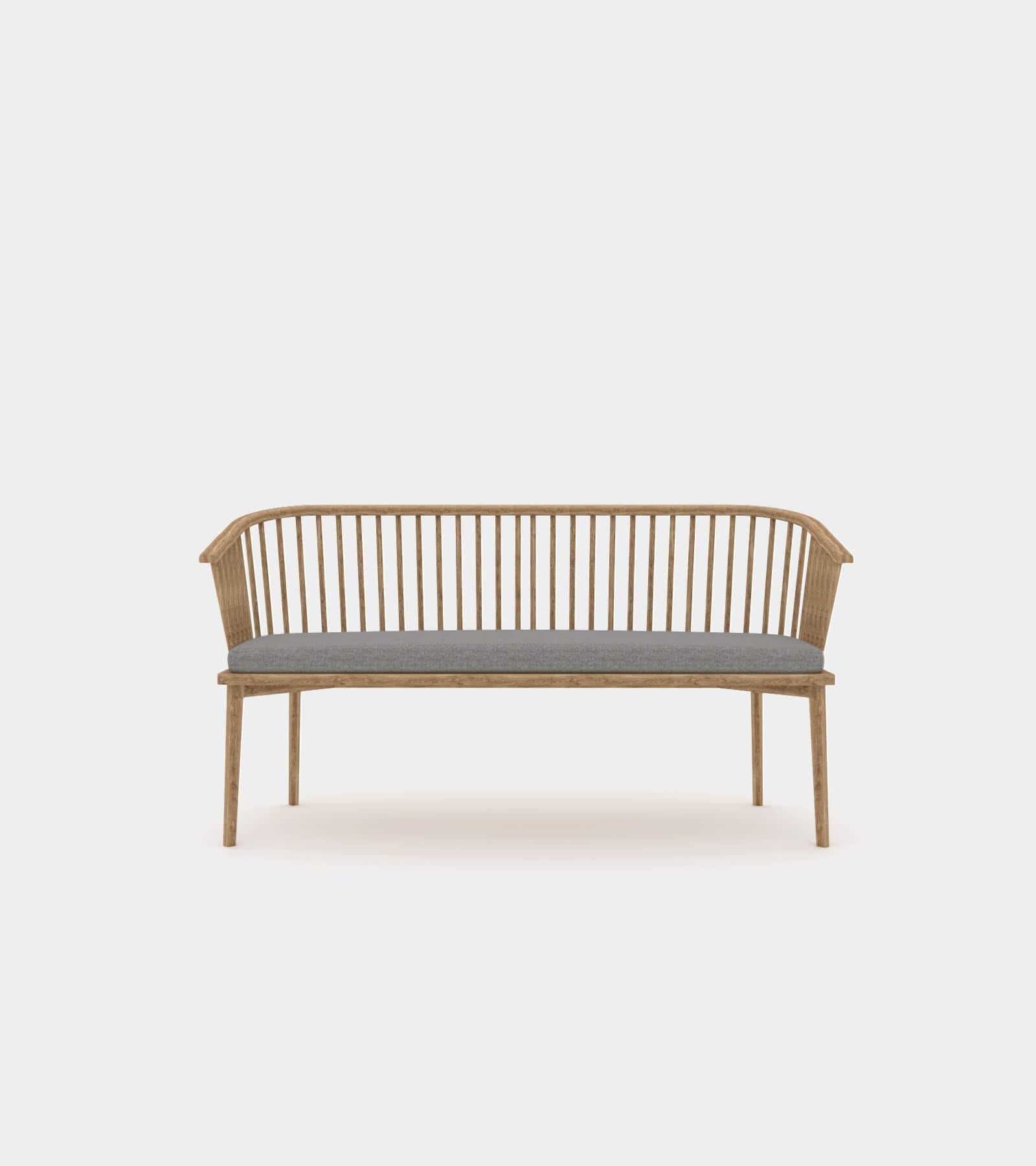 Classic wood bench with struts - 3D Model