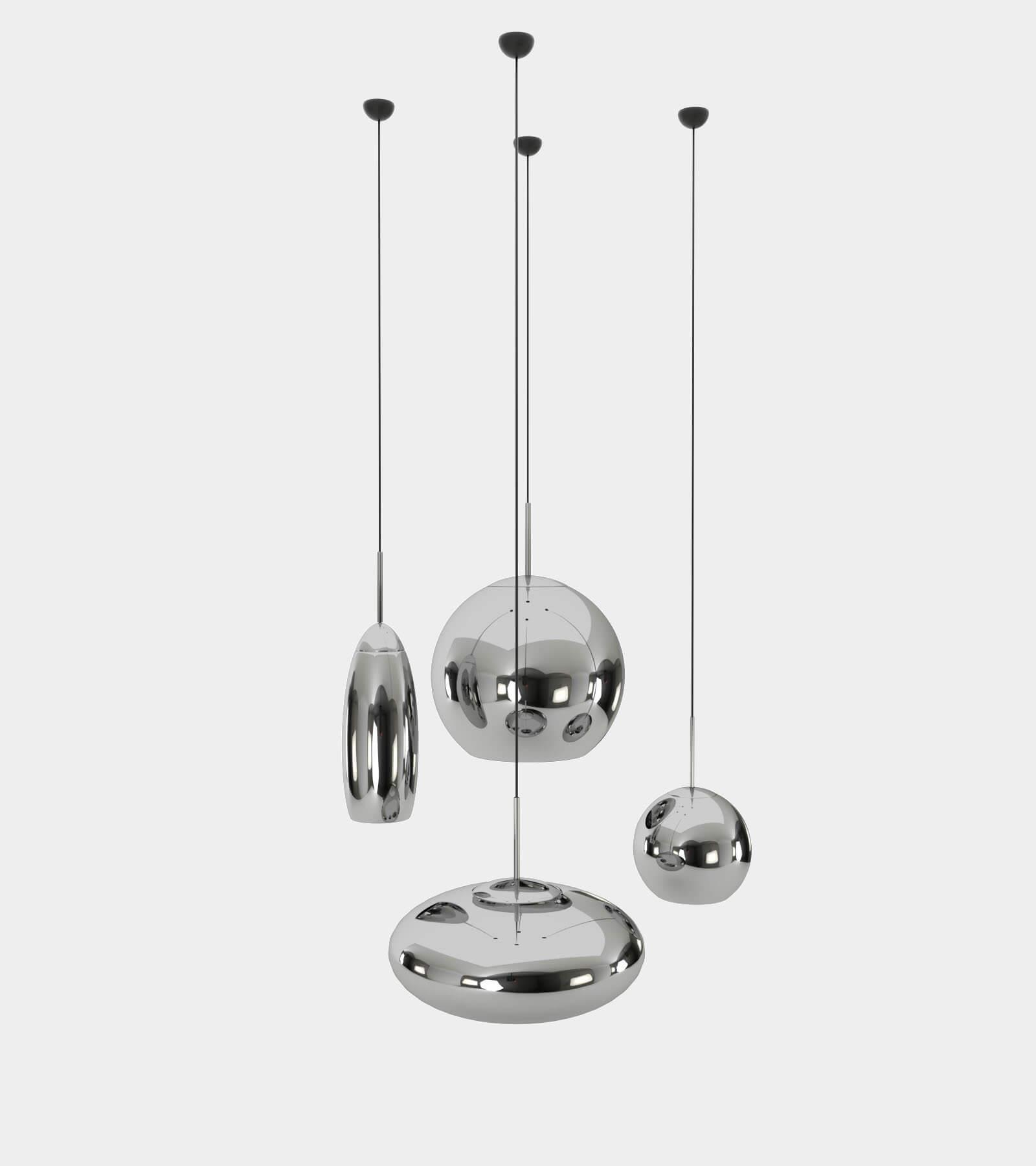 Copper round pendant lamp set-21 3D Model