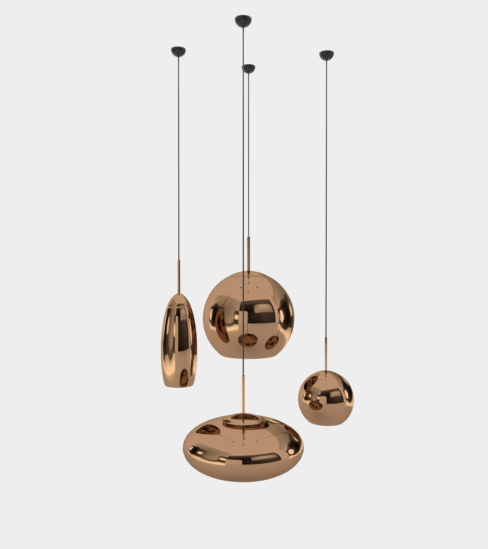Copper round pendant lamp set 3D Model