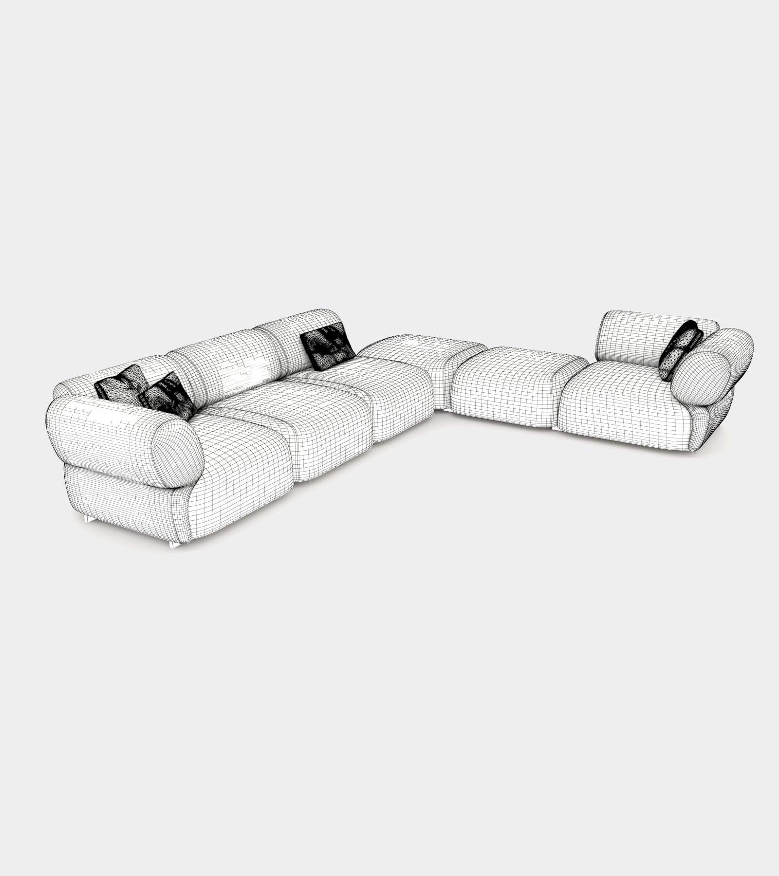 Cozy sofa with round shapes-wire-1 3D Model