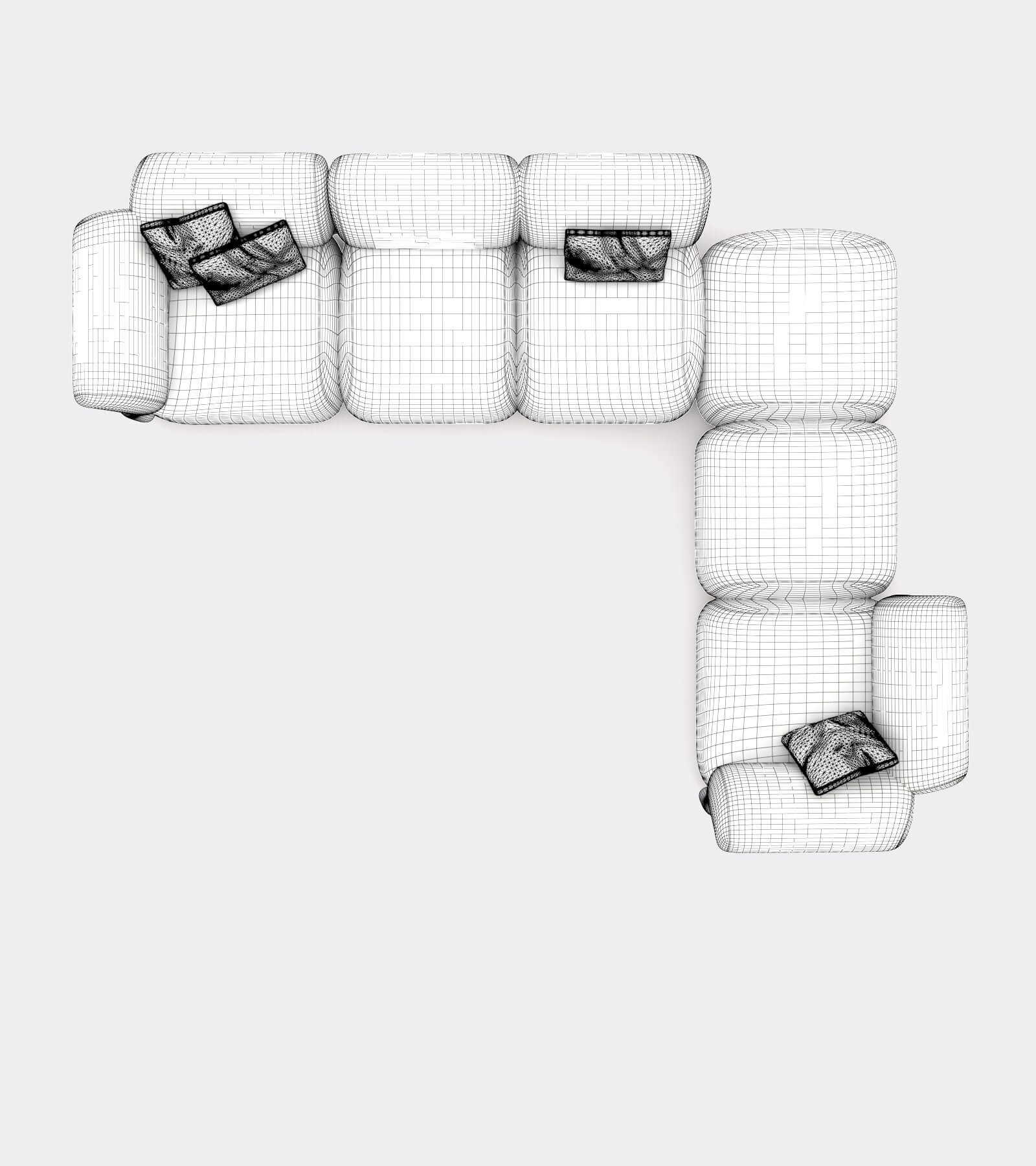 Cozy sofa with round shapes-wire-2 3D Model