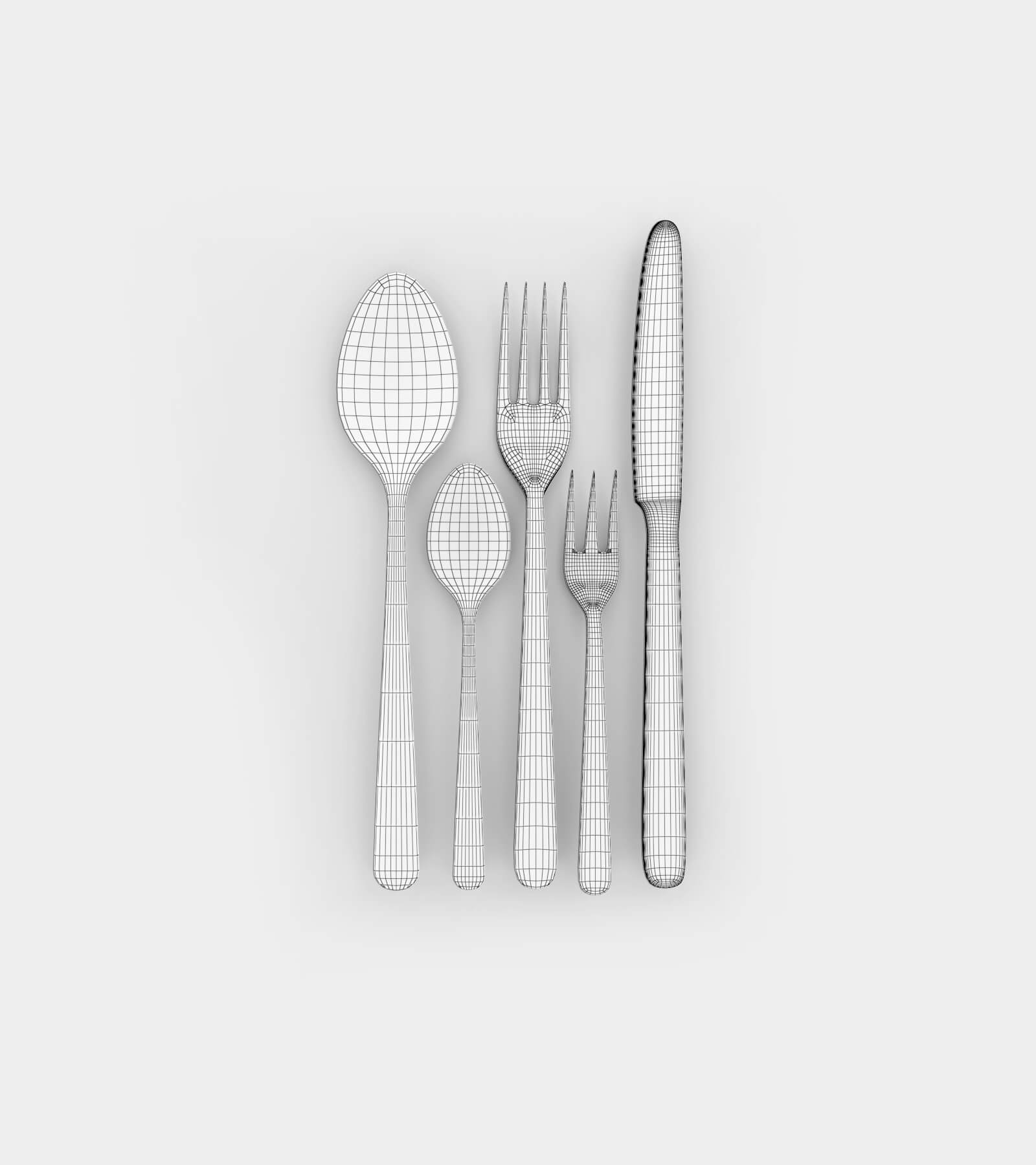 Cuttlery; spoon, knife and fork-wire-2 3D Model