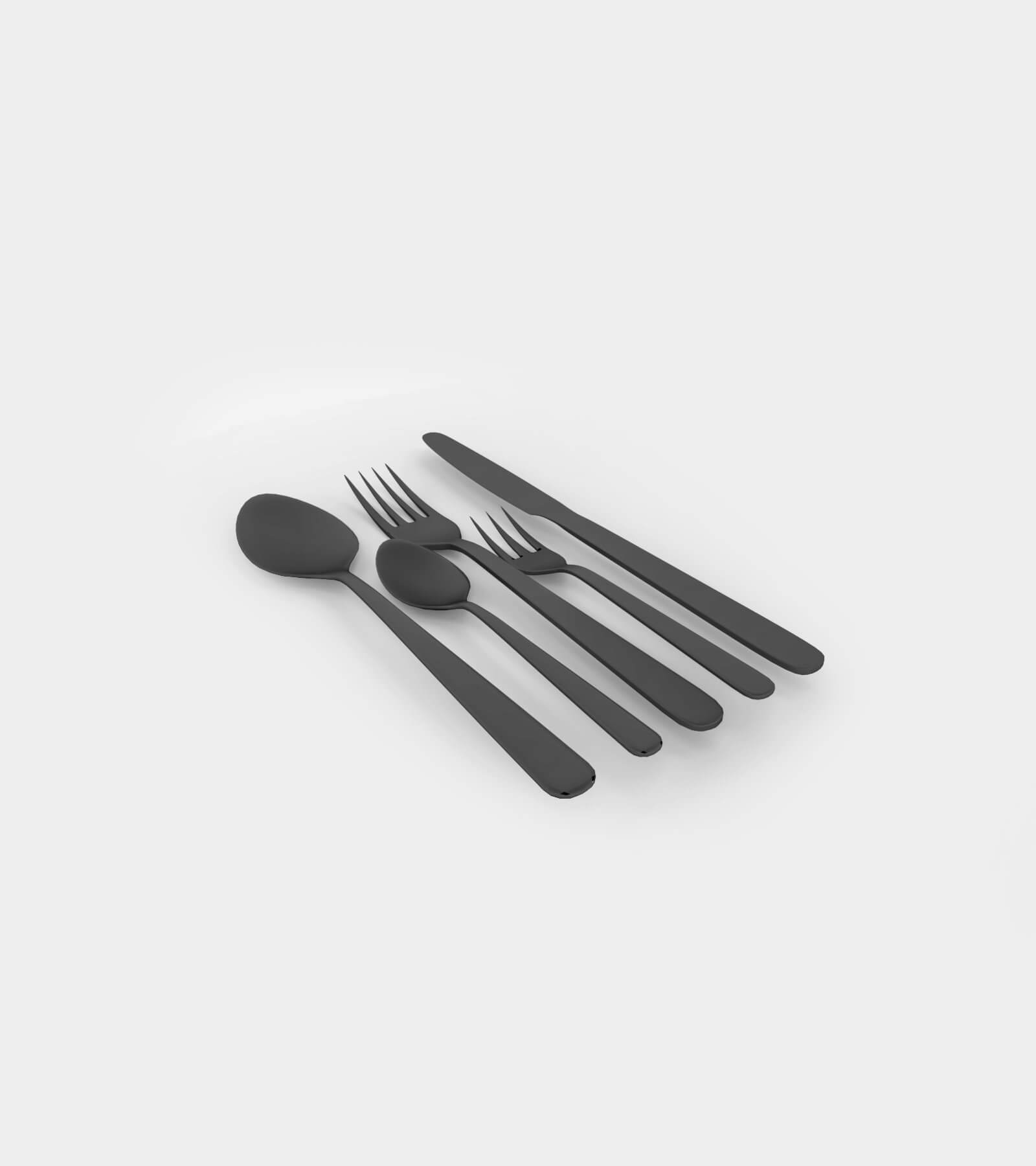 Cuttlery; spoon, knife and fork - 3D Model