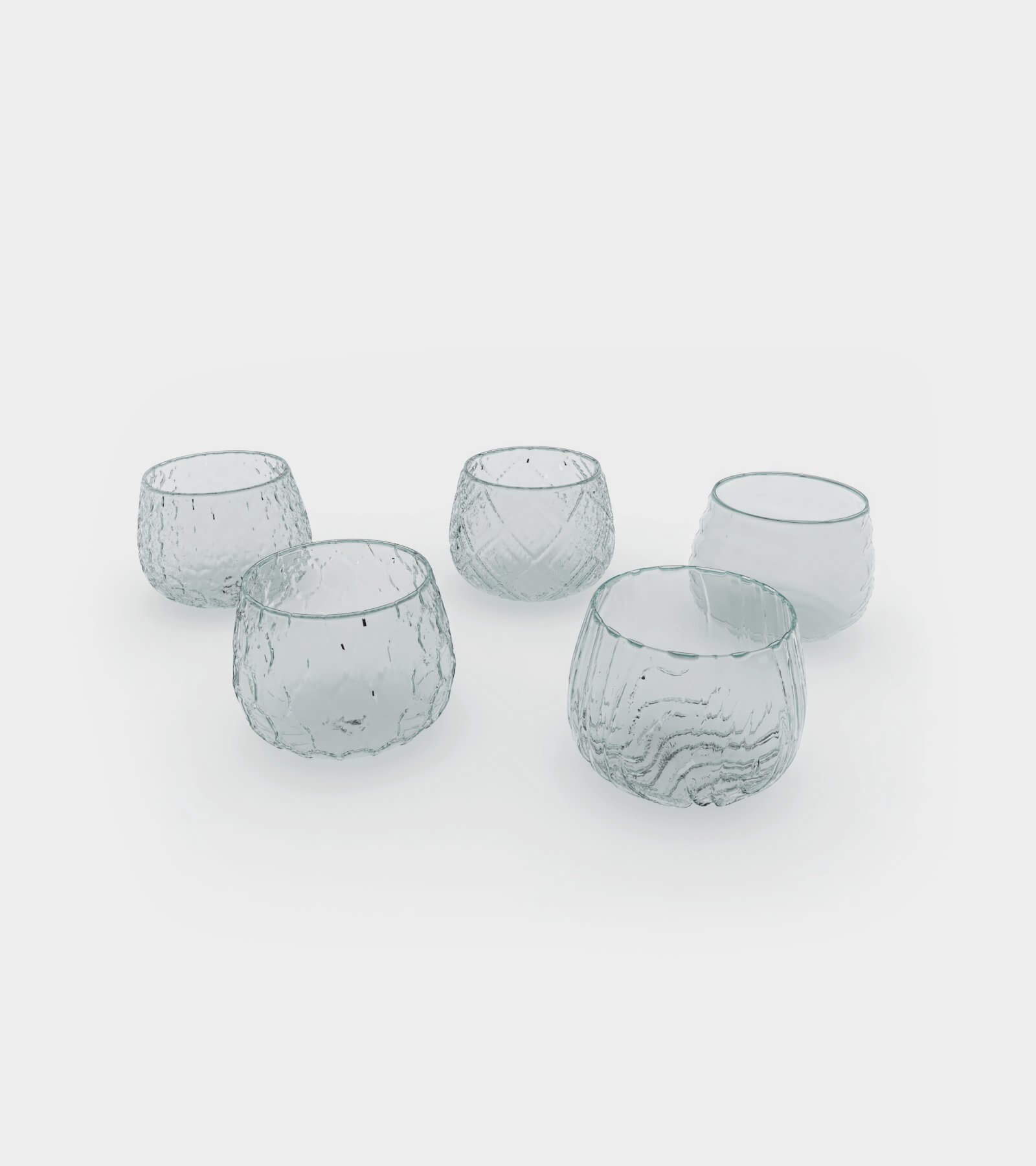 Different water and wine glasses with patterns 1 - 3D Model