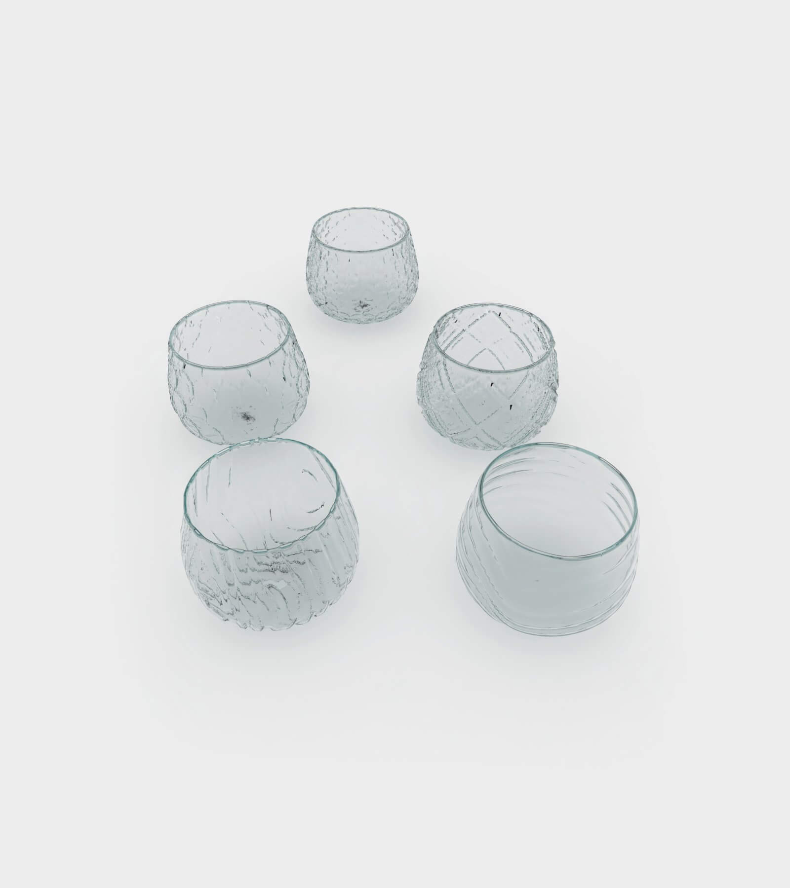 Different water and wine glasses with patterns 2 - 3D Model