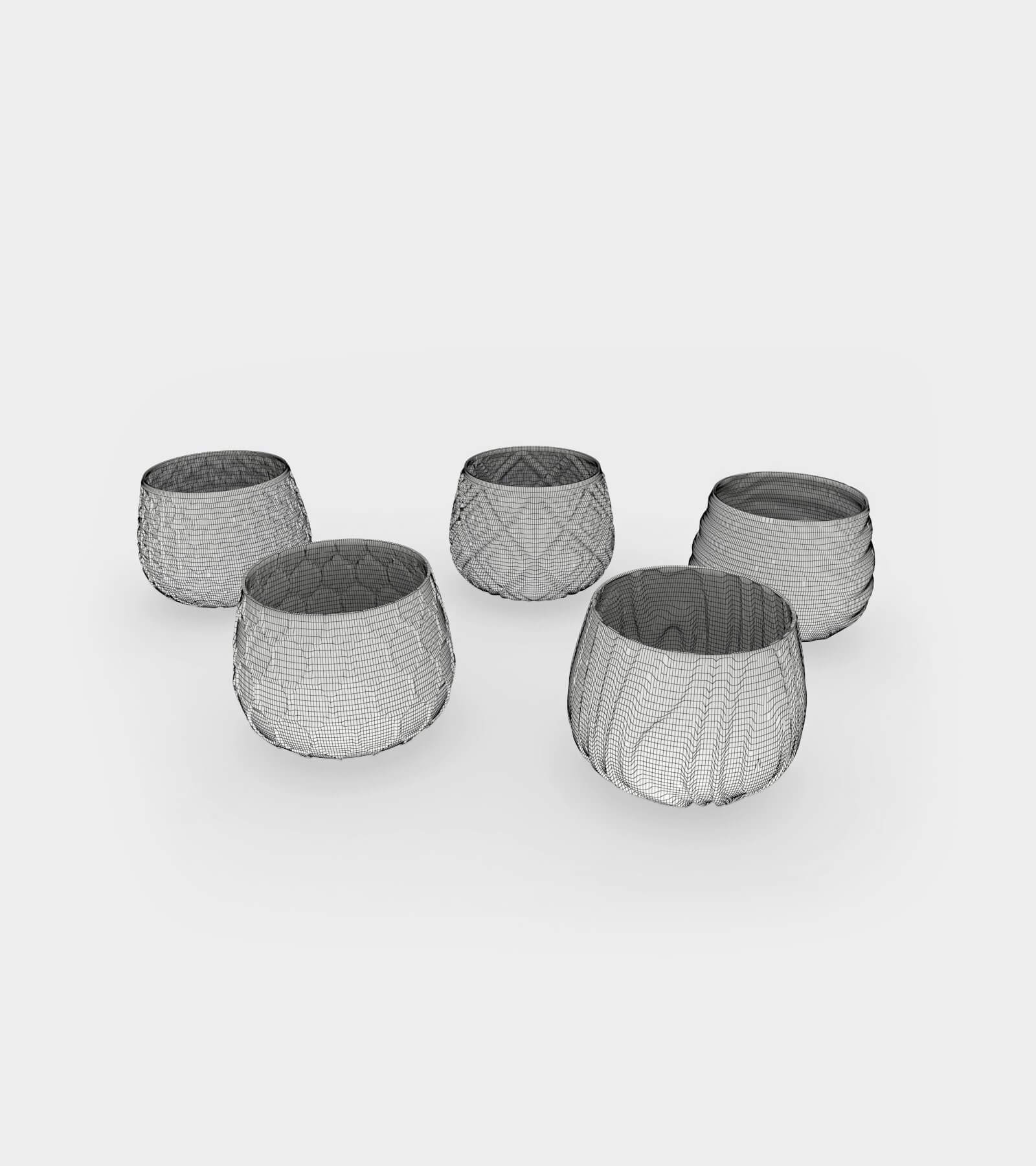 Different water and wine glasses with patterns-wire-1 3D Model