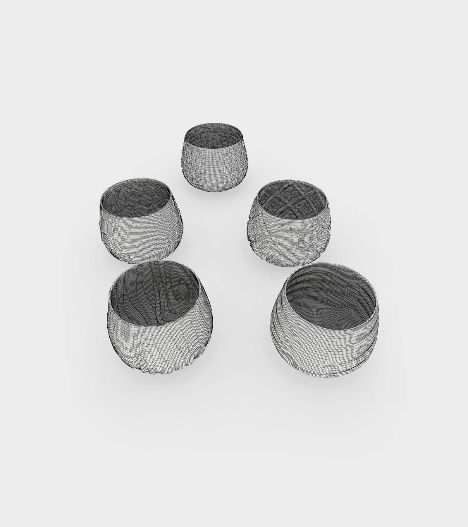 Different water and wine glasses with patterns-wire-2 3D Model