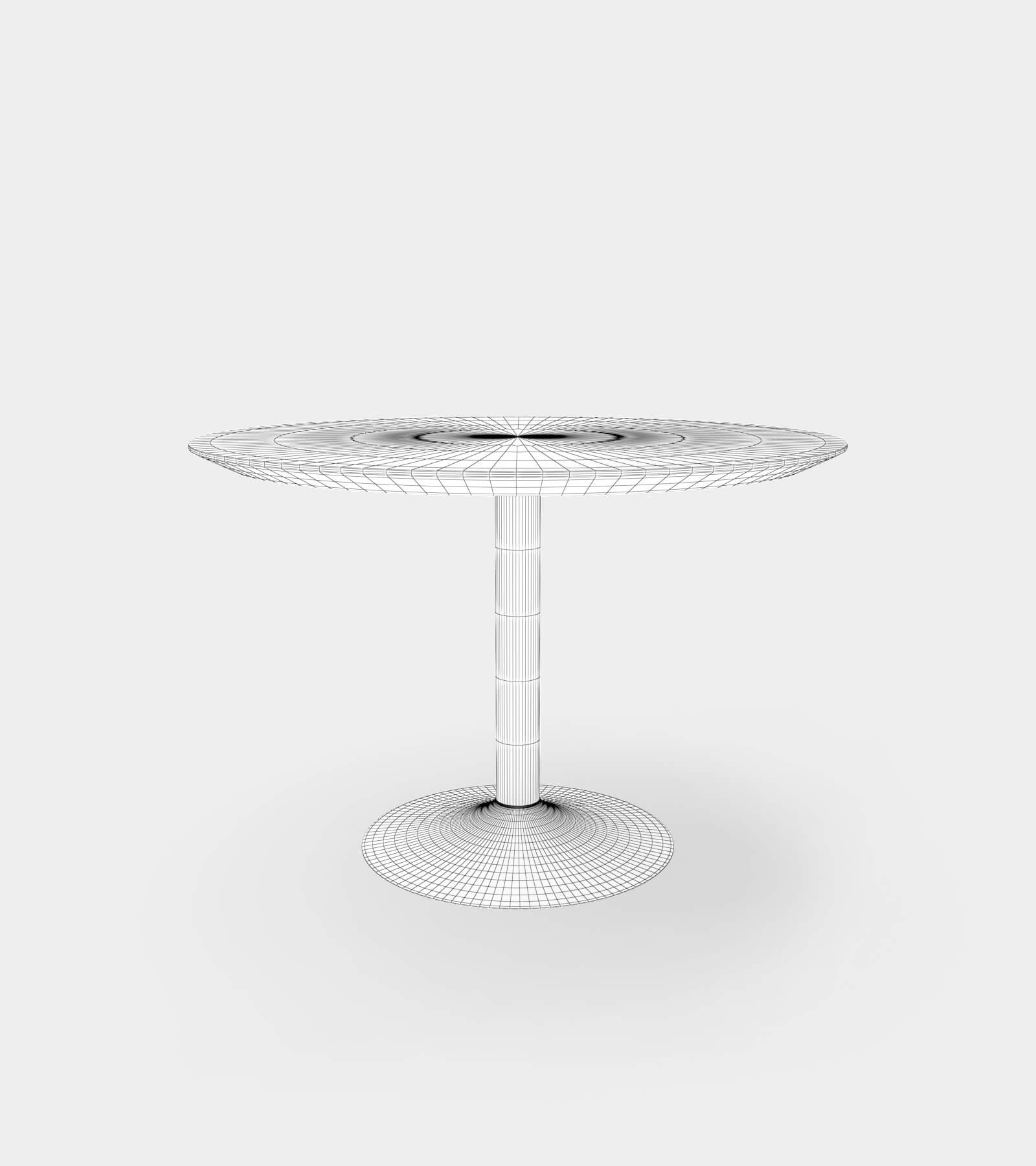 Dining table round for 4 people-wire-1 3D Model