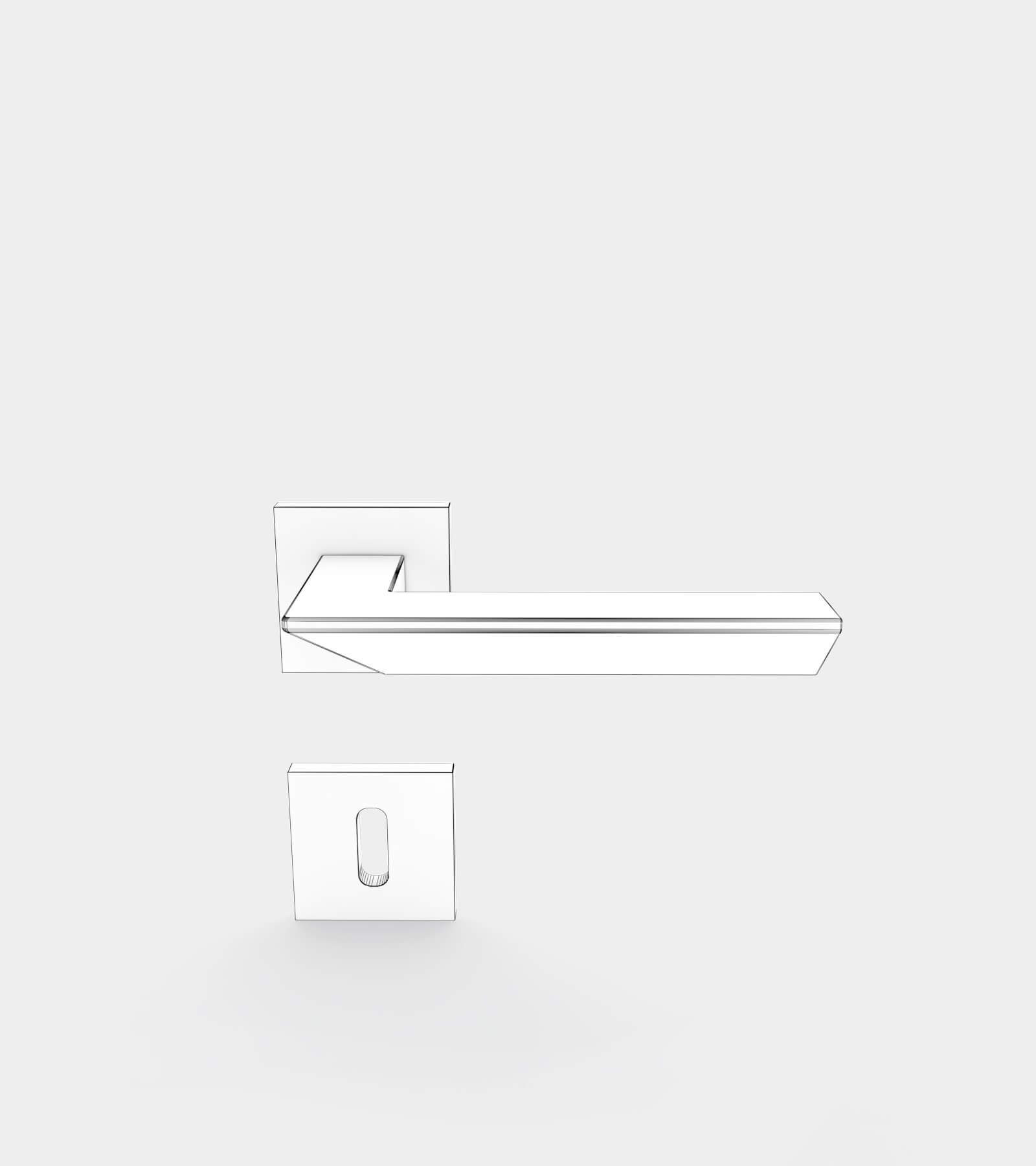 Door handle set for interior-wire-1 3D Model