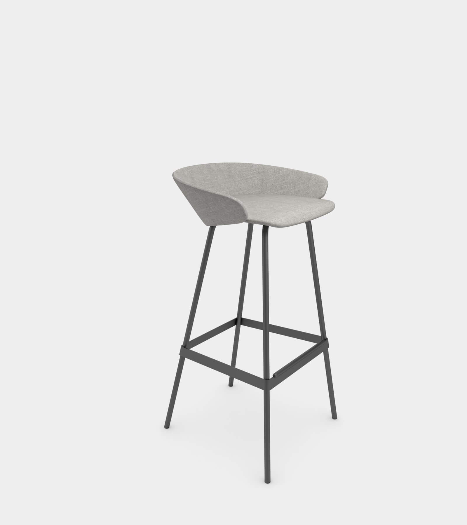 Fabric stool with armrest 2- 3D Model