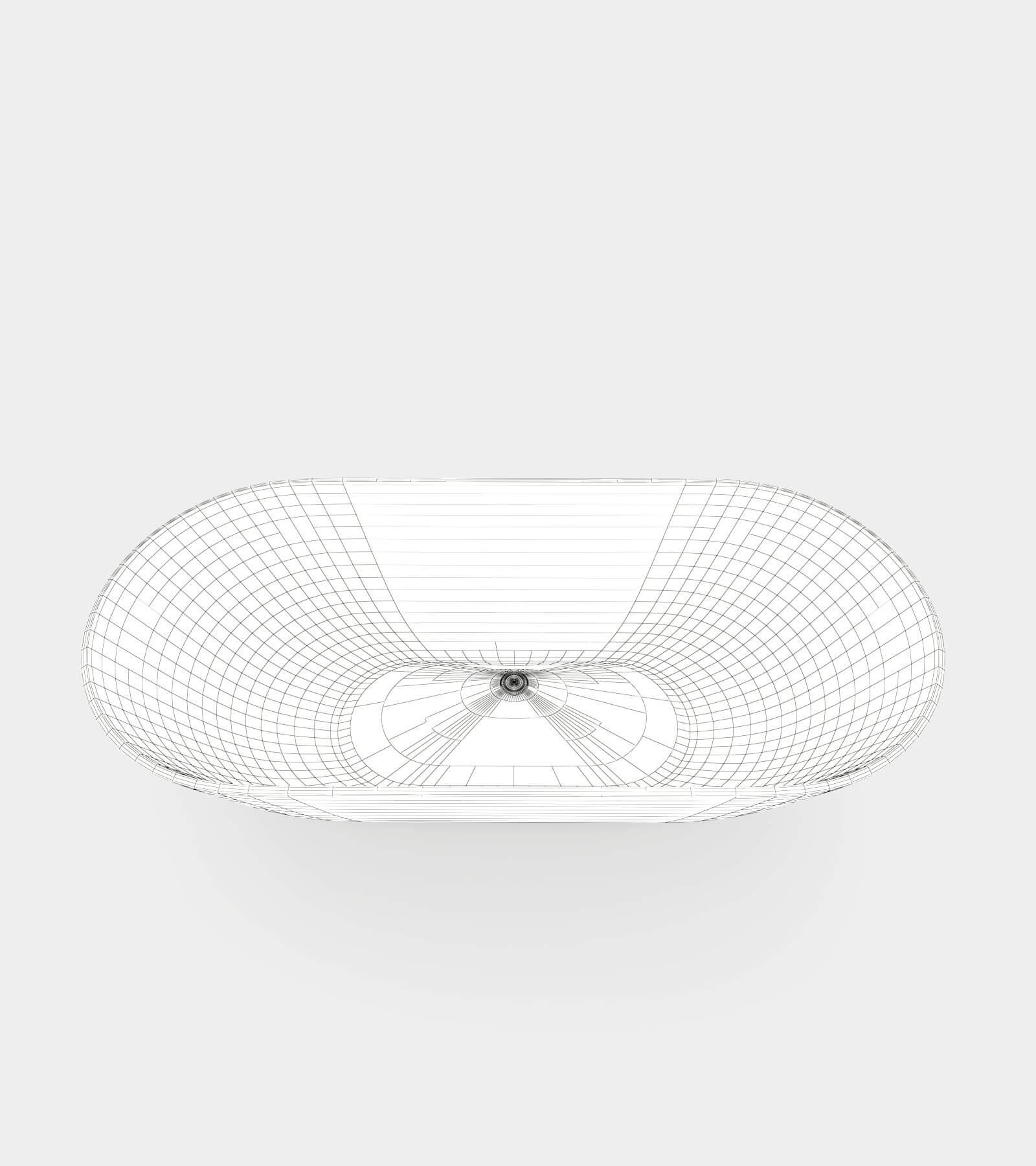 Freestanding round bathtub-wire-1 3D Model