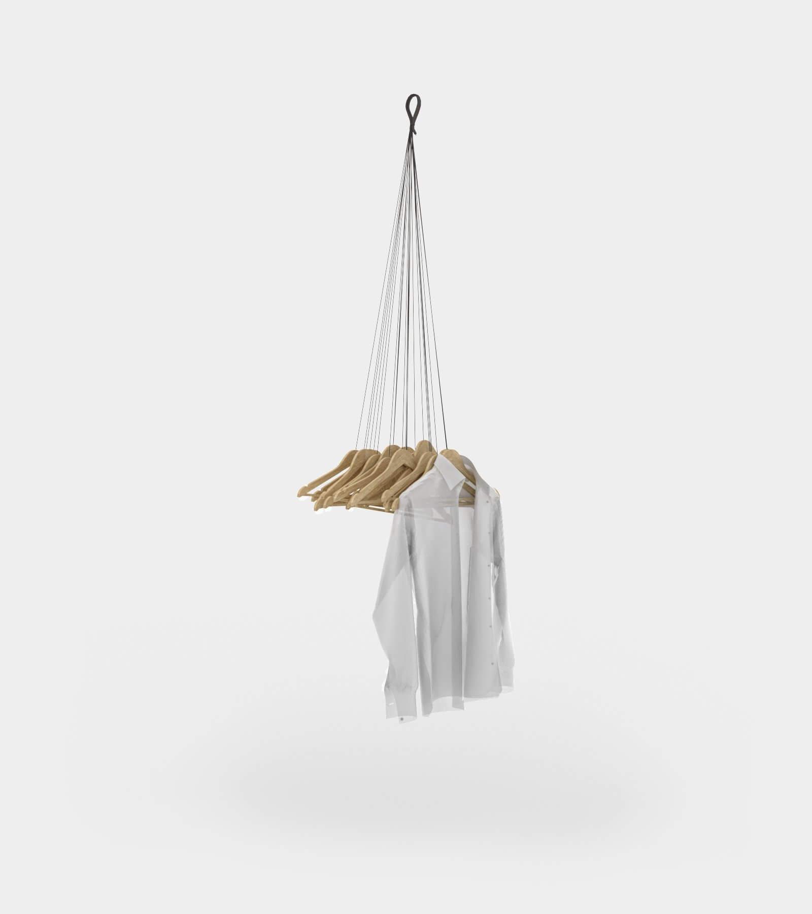 Hanging coat rack with hangers 2 - 3D Model