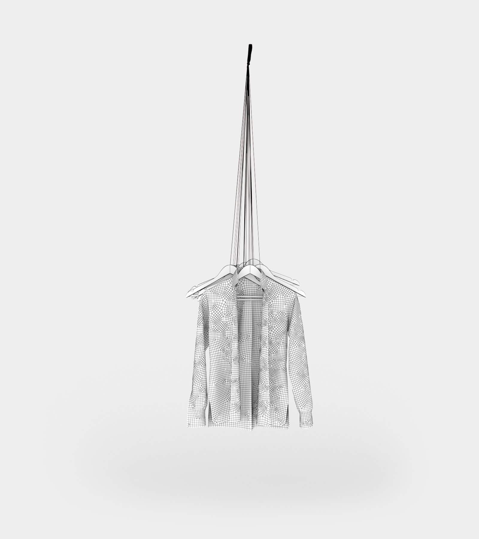 Hanging coat rack with hangers-wire-1 3D Model