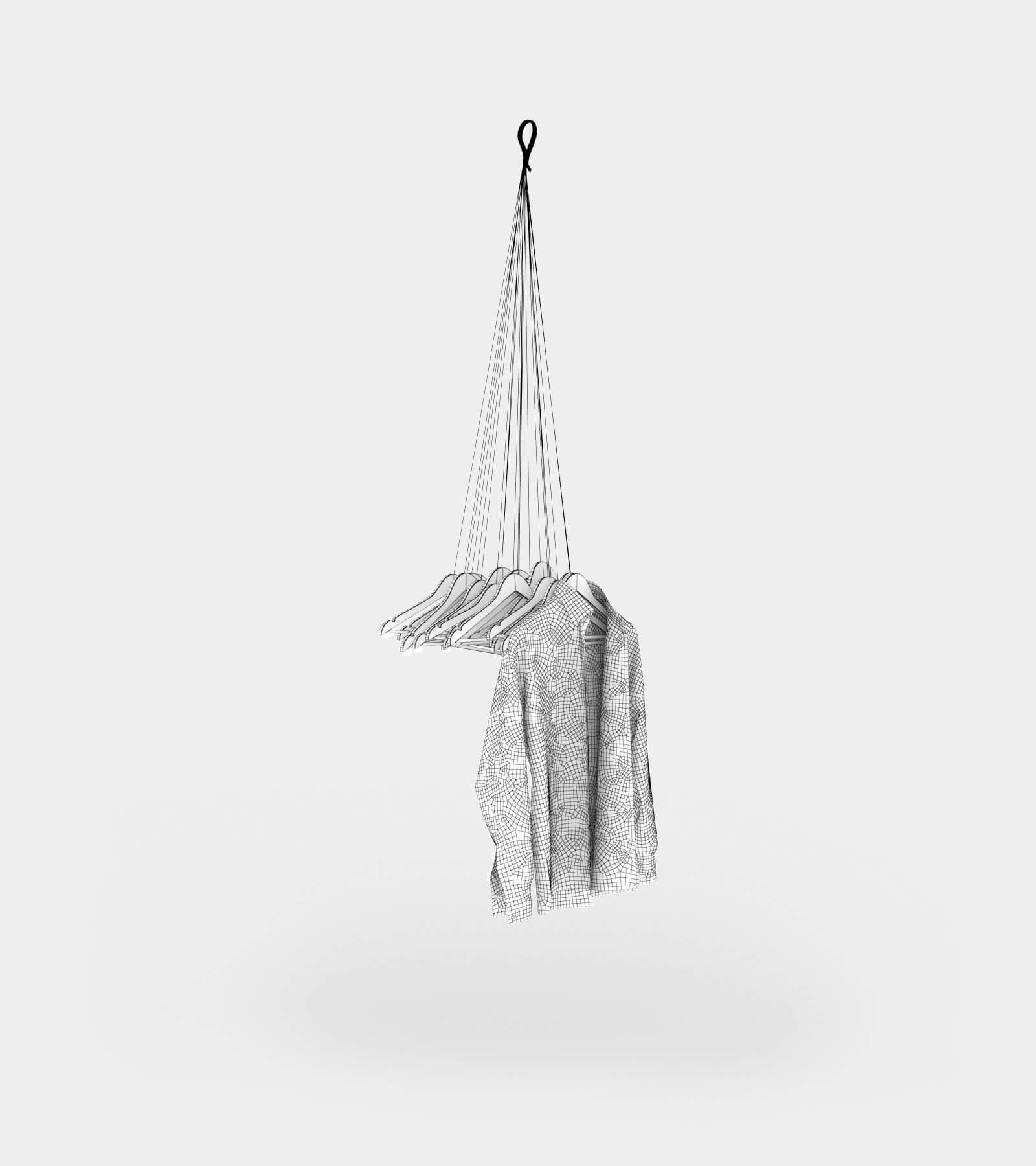Hanging coat rack with hangers-wire-2 3D Model