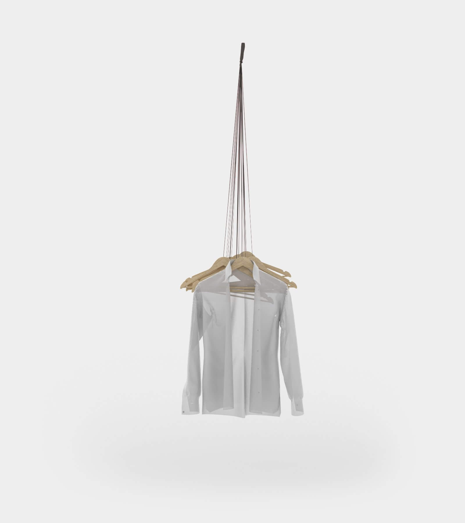Hanging coat rack with hangers - 3D Model