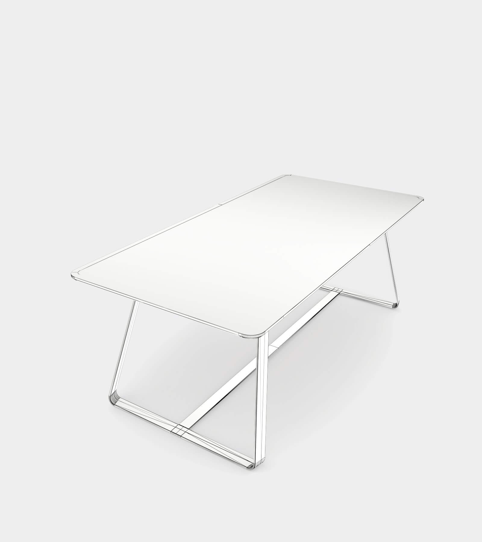 Modern dining table with metal base-wire-1 3D Model