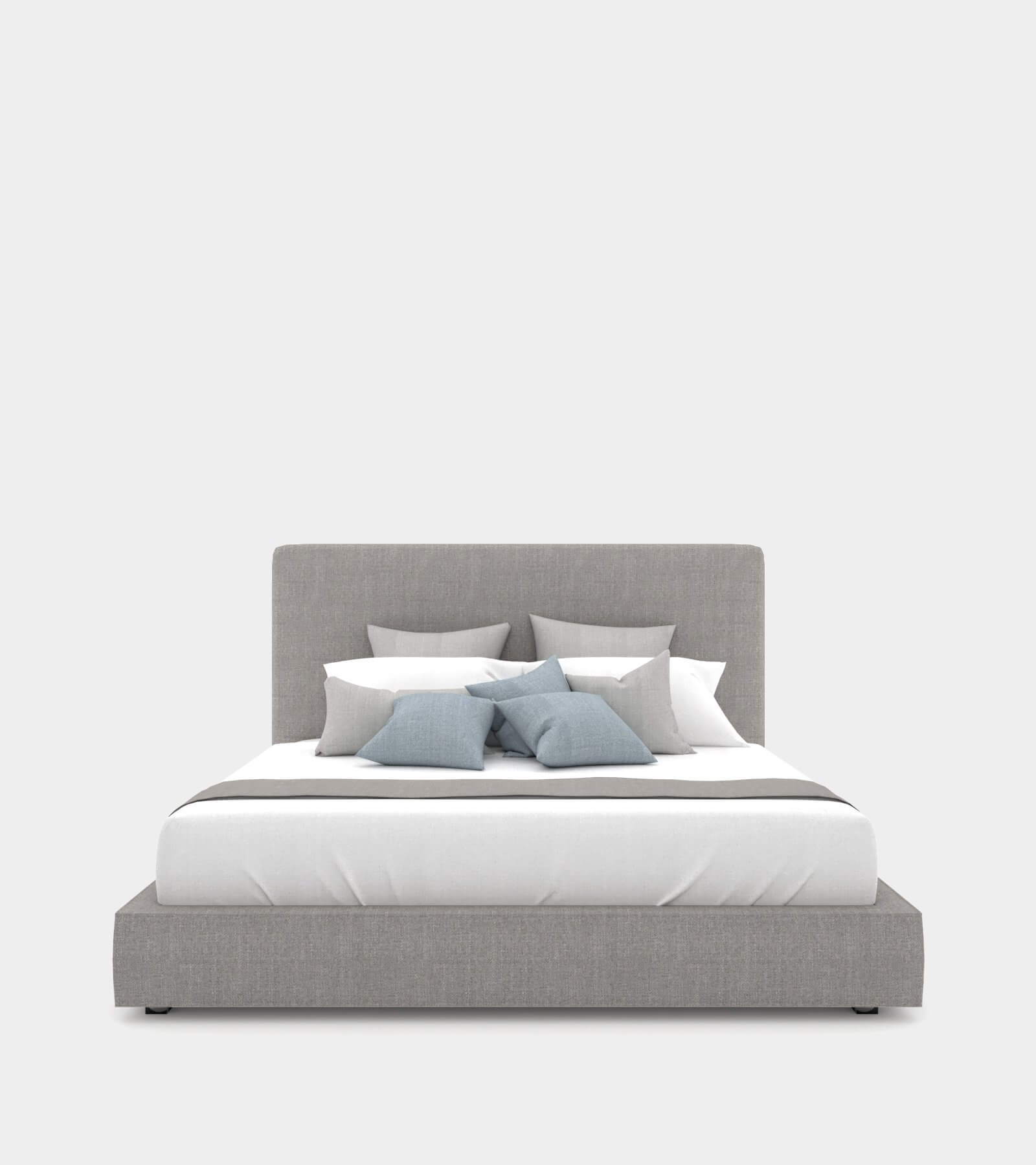 Modern double bed with a bed head 2 - 3D Model