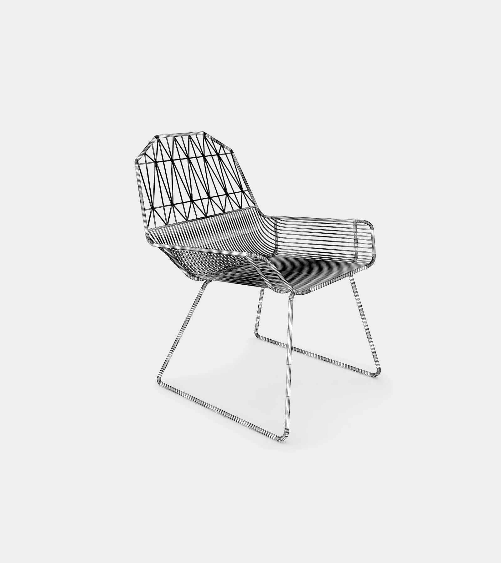 Modern outdoor & indoor lounge chair-wire-1 3D Model