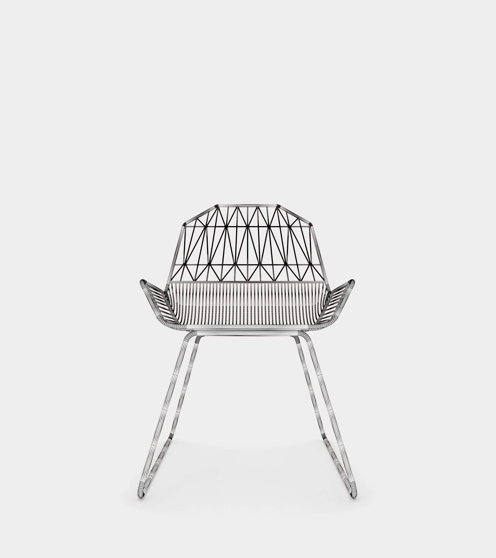 Modern outdoor & indoor lounge chair-wire-2 3D Model