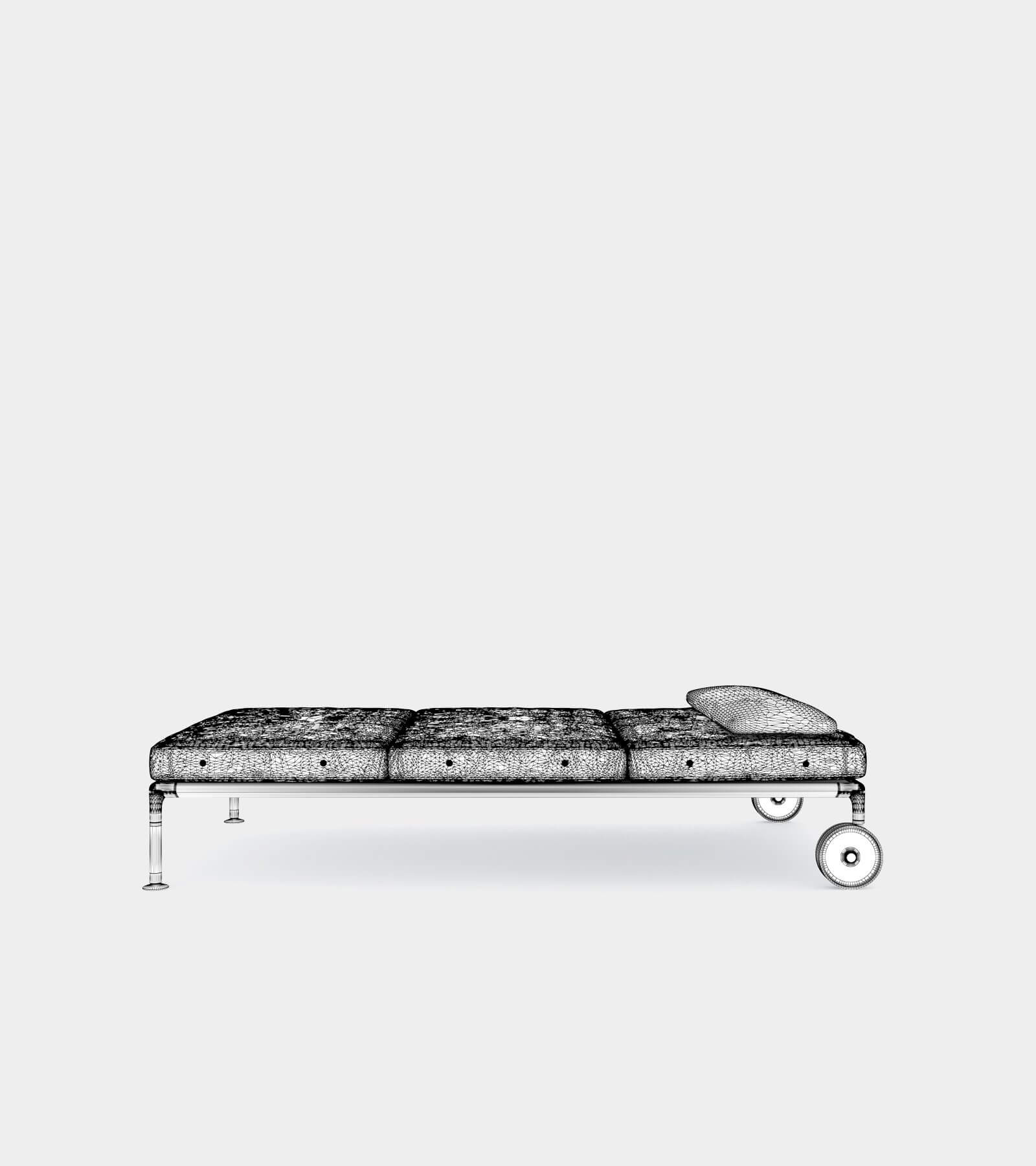 Outdoor chaise longue with wheels-wire-1 3D Model