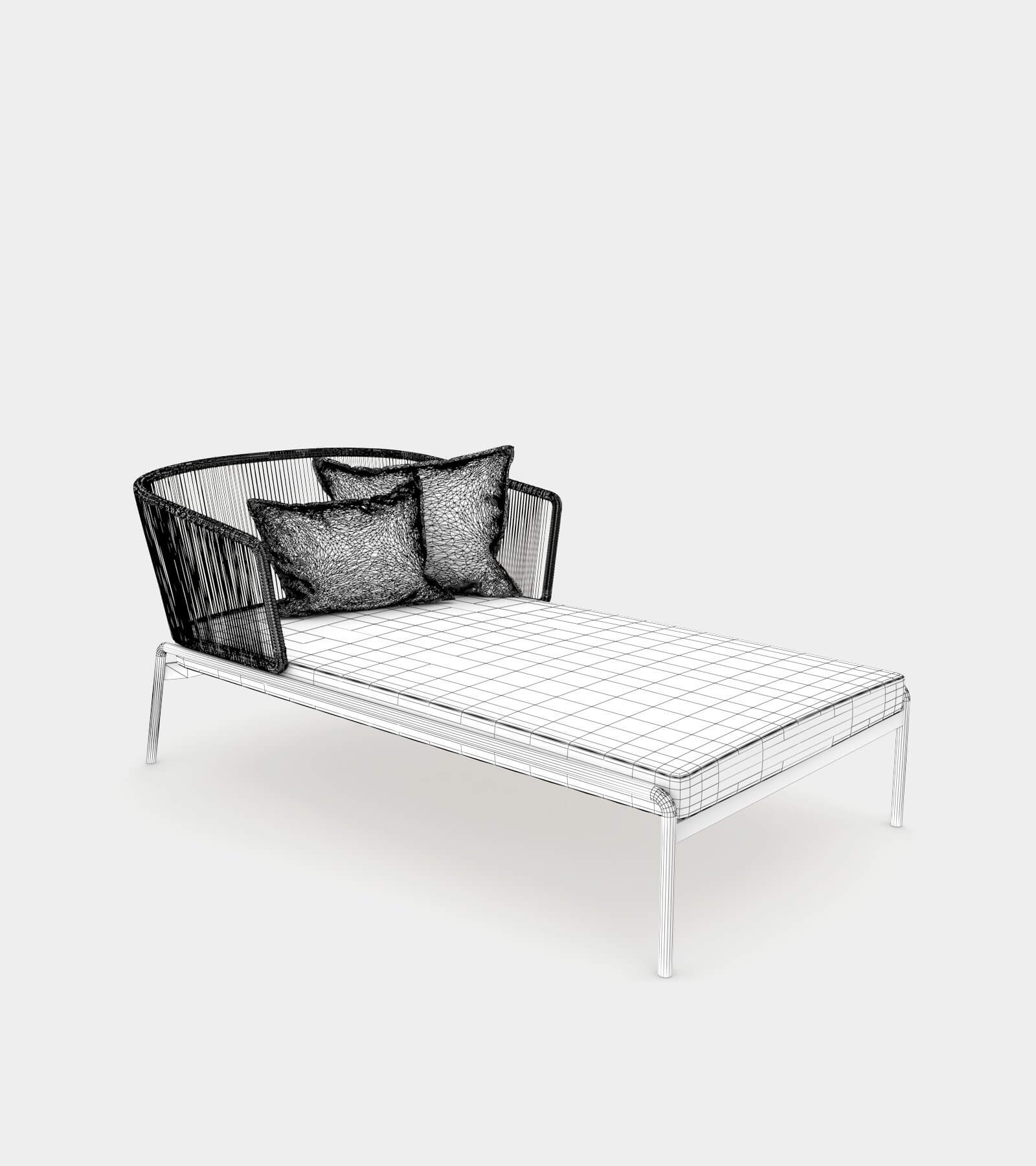 Outdoor pool chaise lounge-wire-1 3D Model