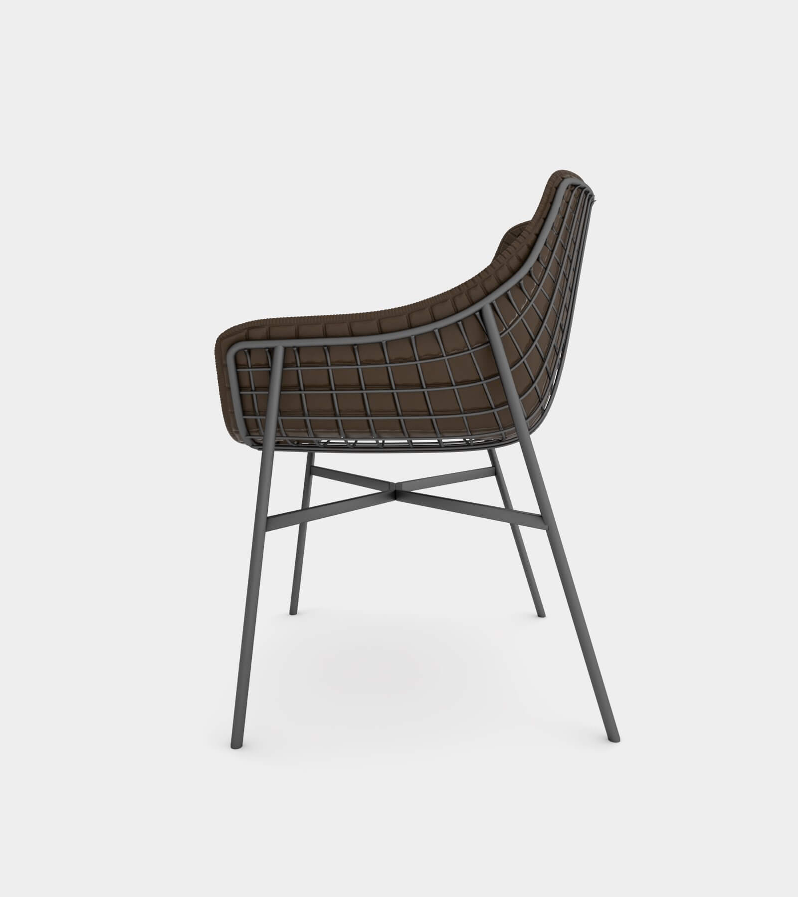 Outdoor summer leather armchair with steel grid 2 - 3D Model