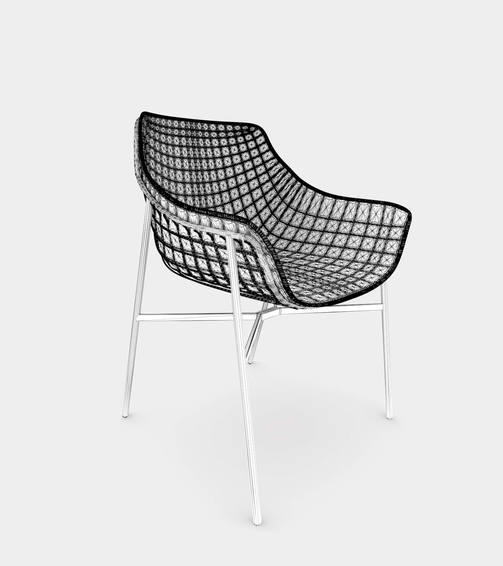 Outdoor summer leather armchair with steel grid-wire-1 3D Model
