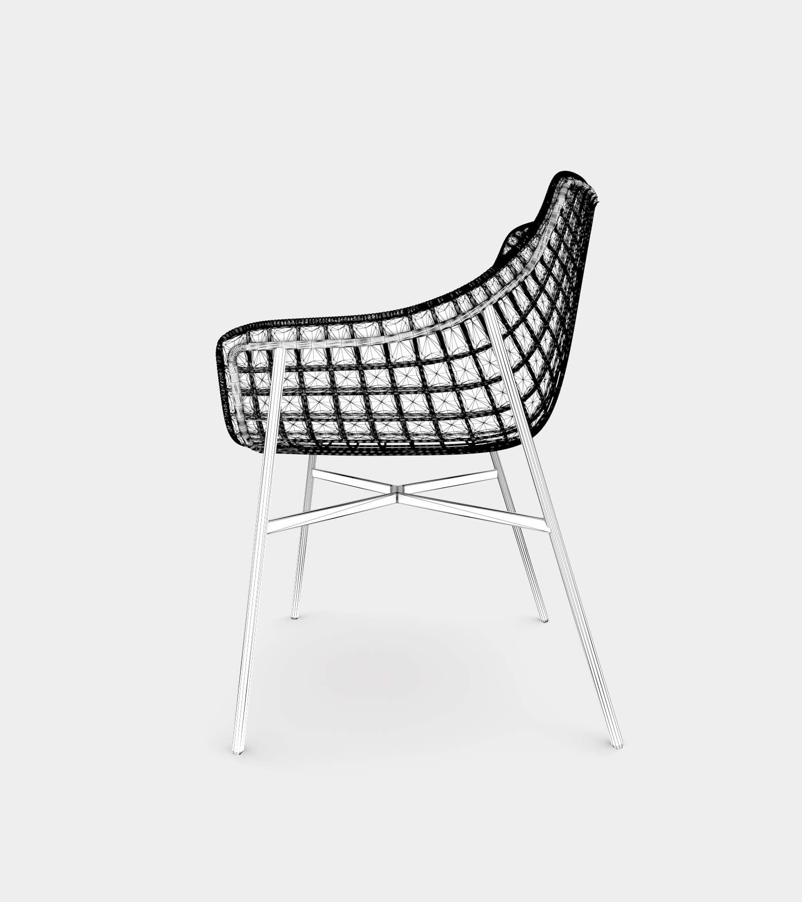 Outdoor summer leather armchair with steel grid-wire-2 3D Model