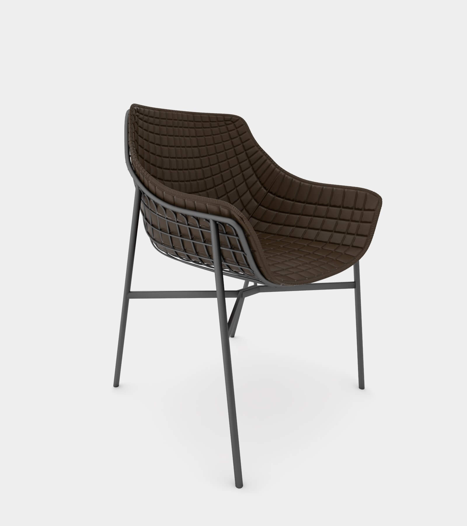Outdoor summer leather armchair with steel grid - 3D Model