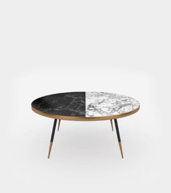 Round coffee table with marble top-1- 3D Model