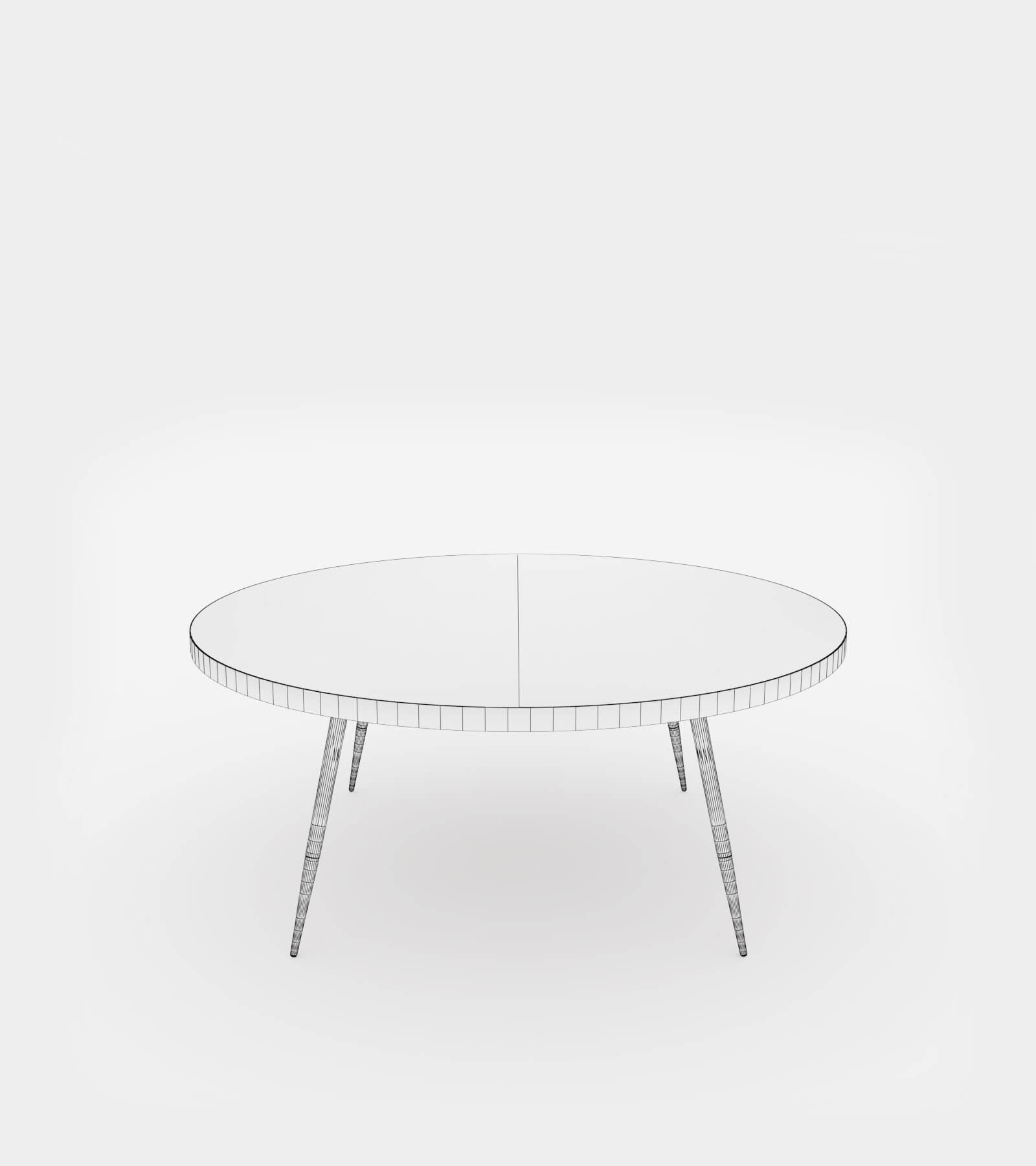 Round coffee table with marble top-wire-12 3D Model
