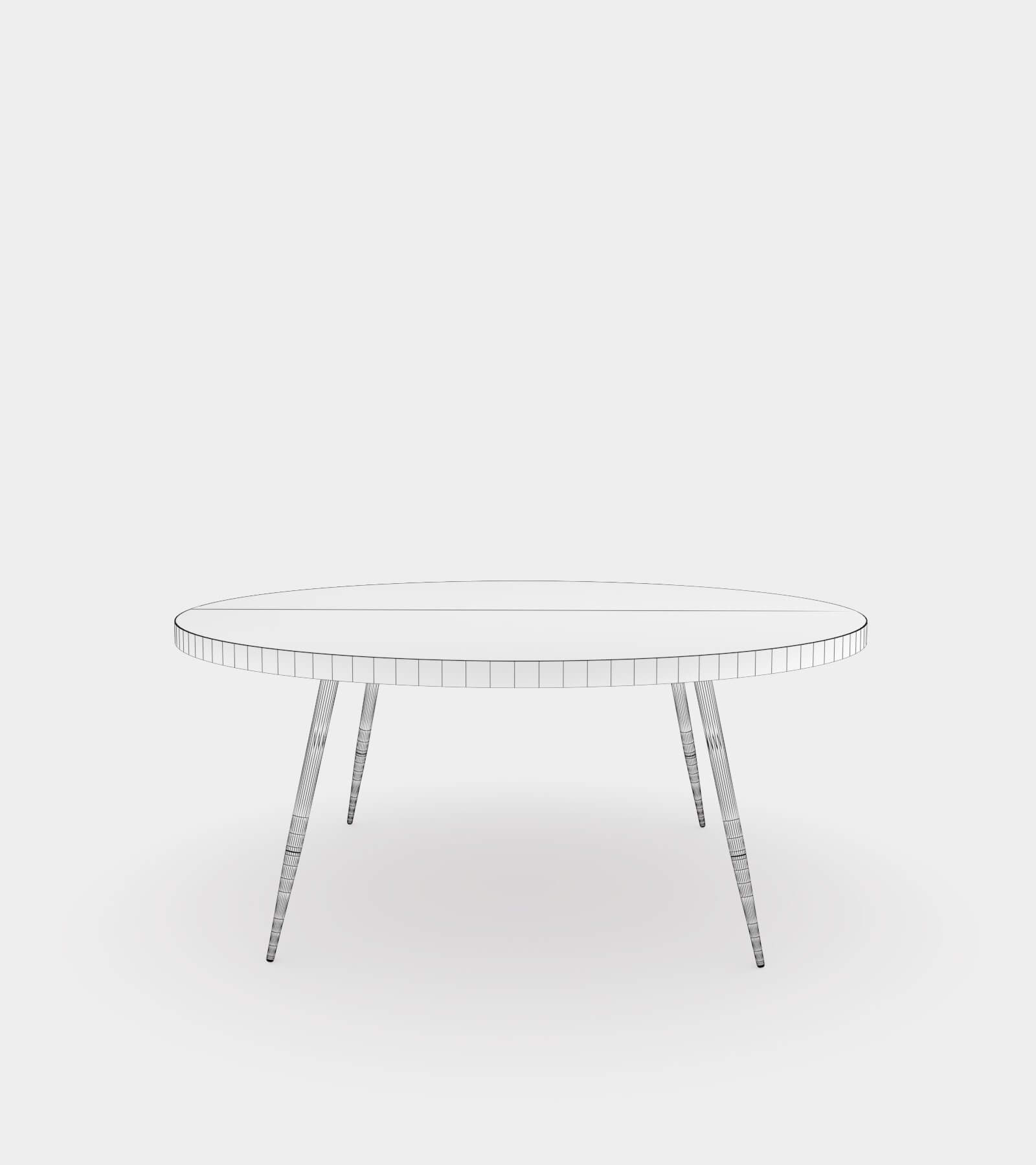 Round coffee table with marble top-wire-2 3D Model