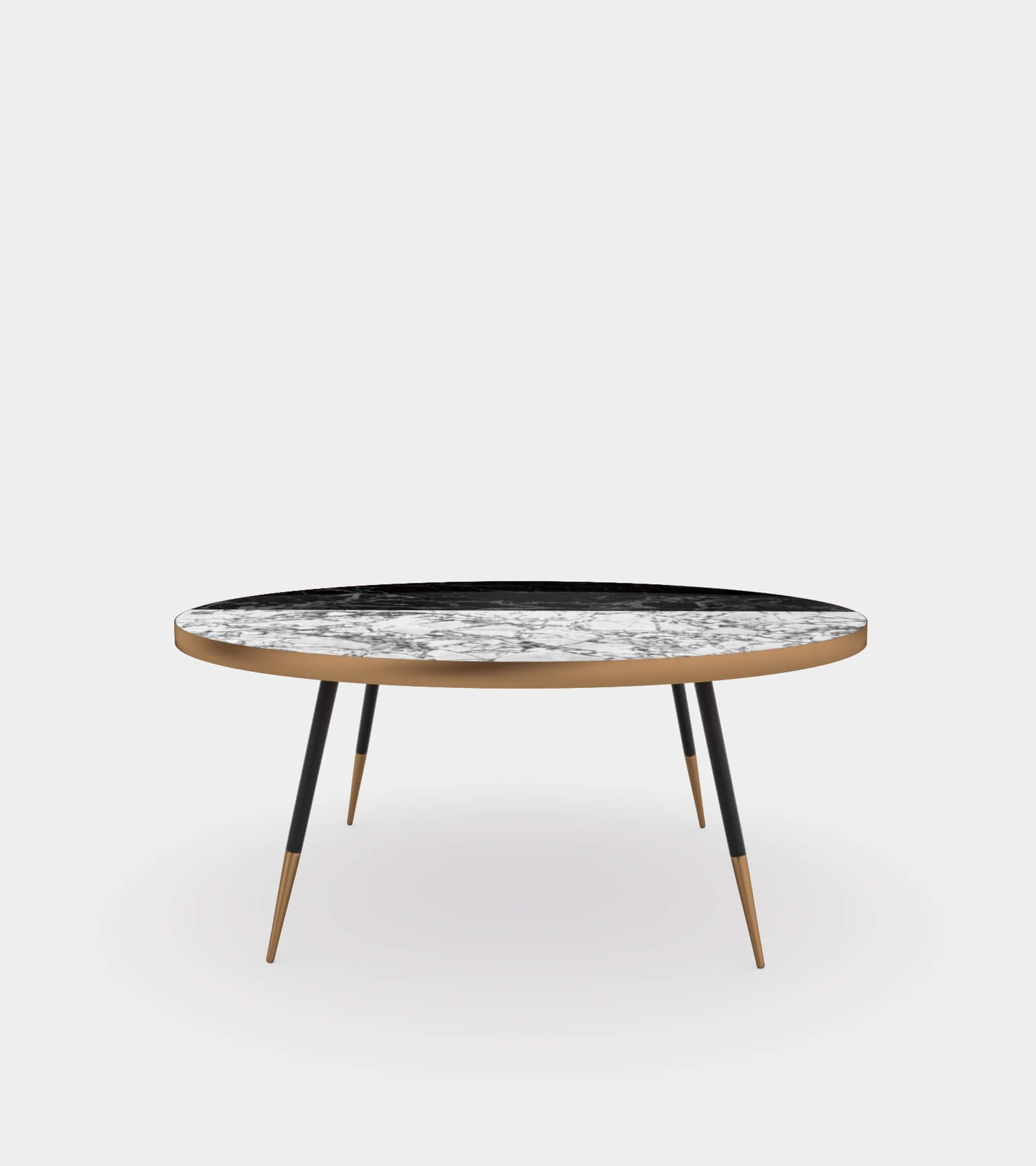 Round coffee table with marble top2- 3D Model
